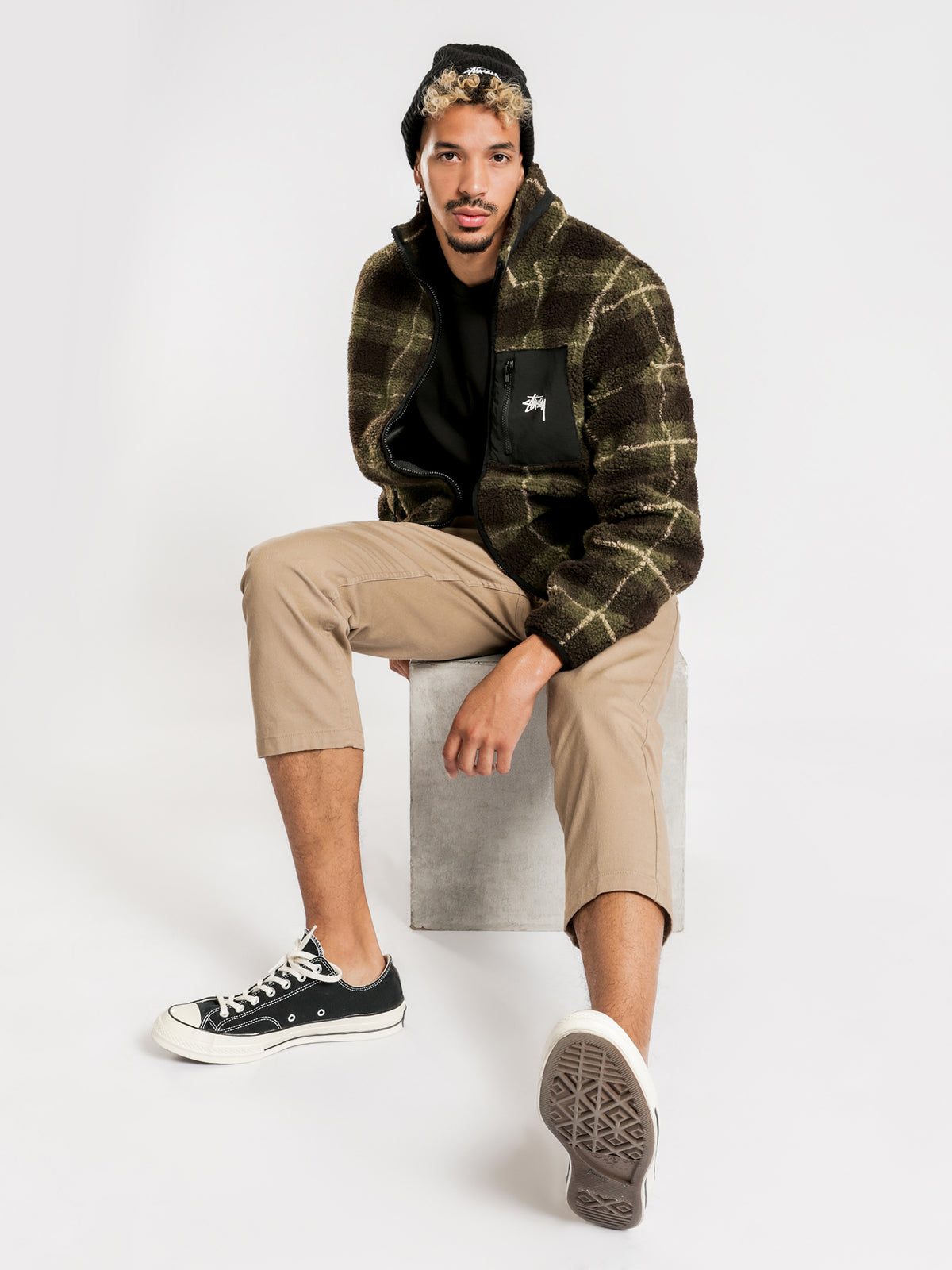 Southgate Sherpa Jacket in Khaki Check