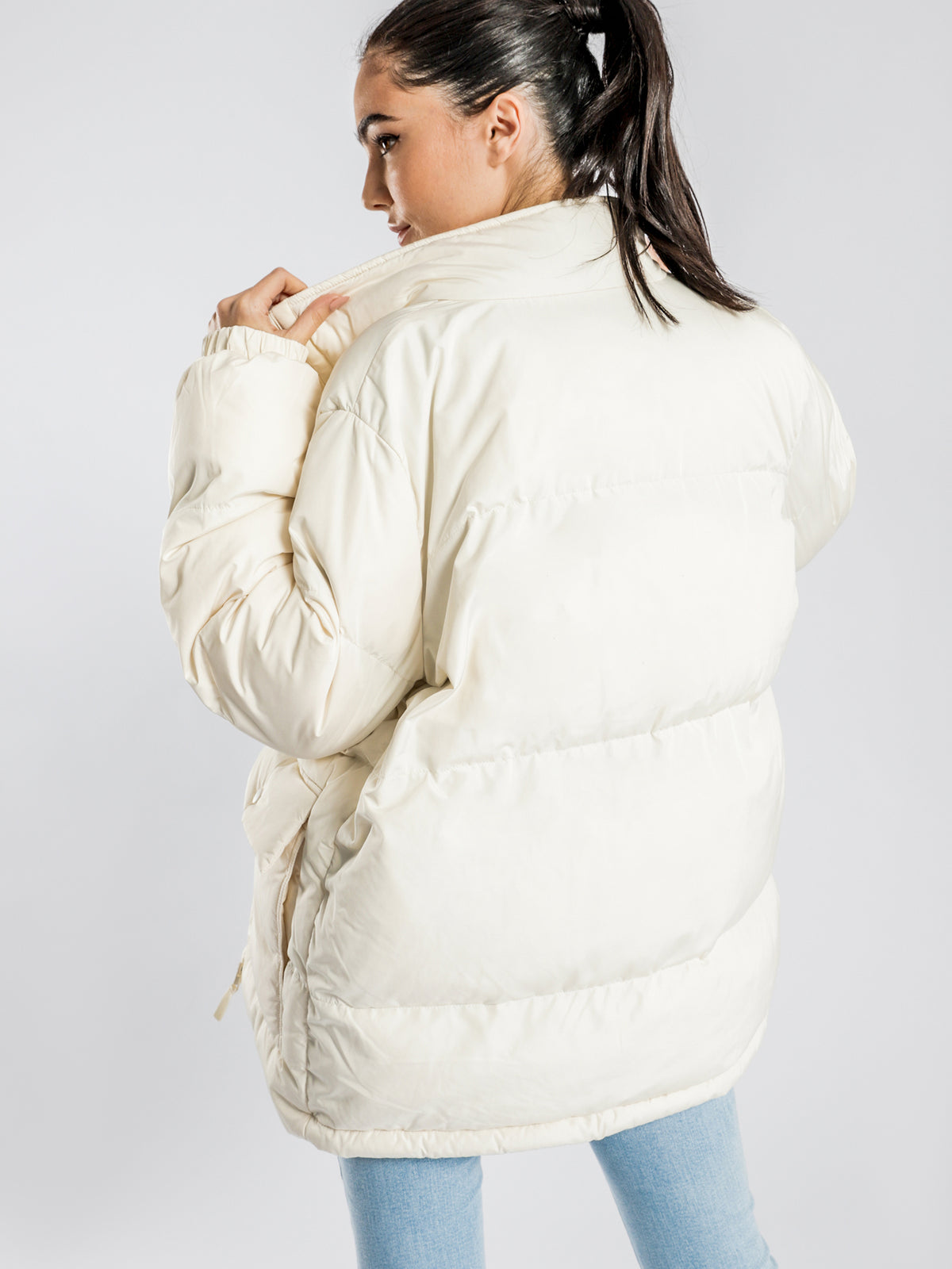 Stock Oversized Puffer Jacket in Off-White