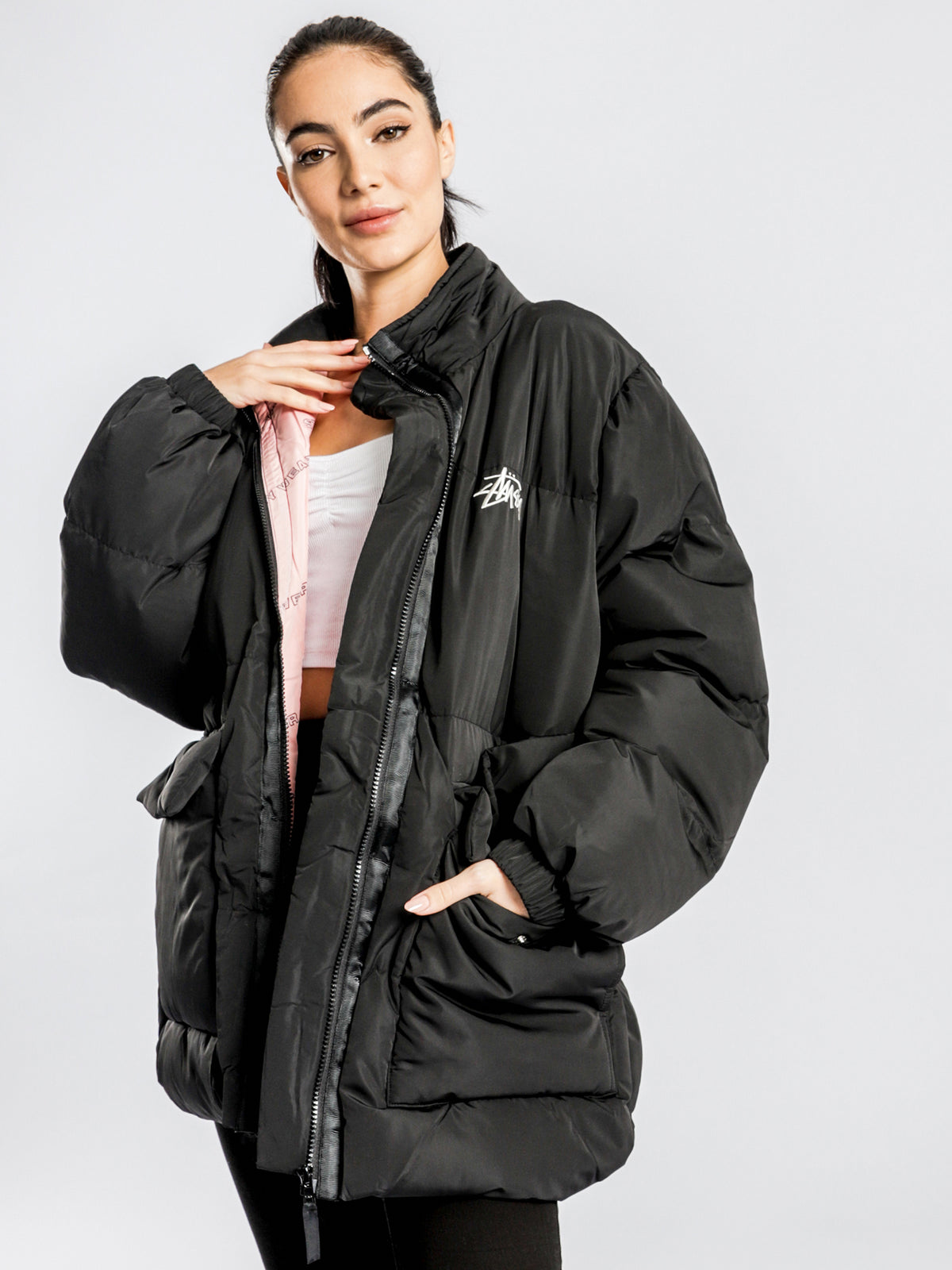Stock Oversized Puffer Jacket in Black