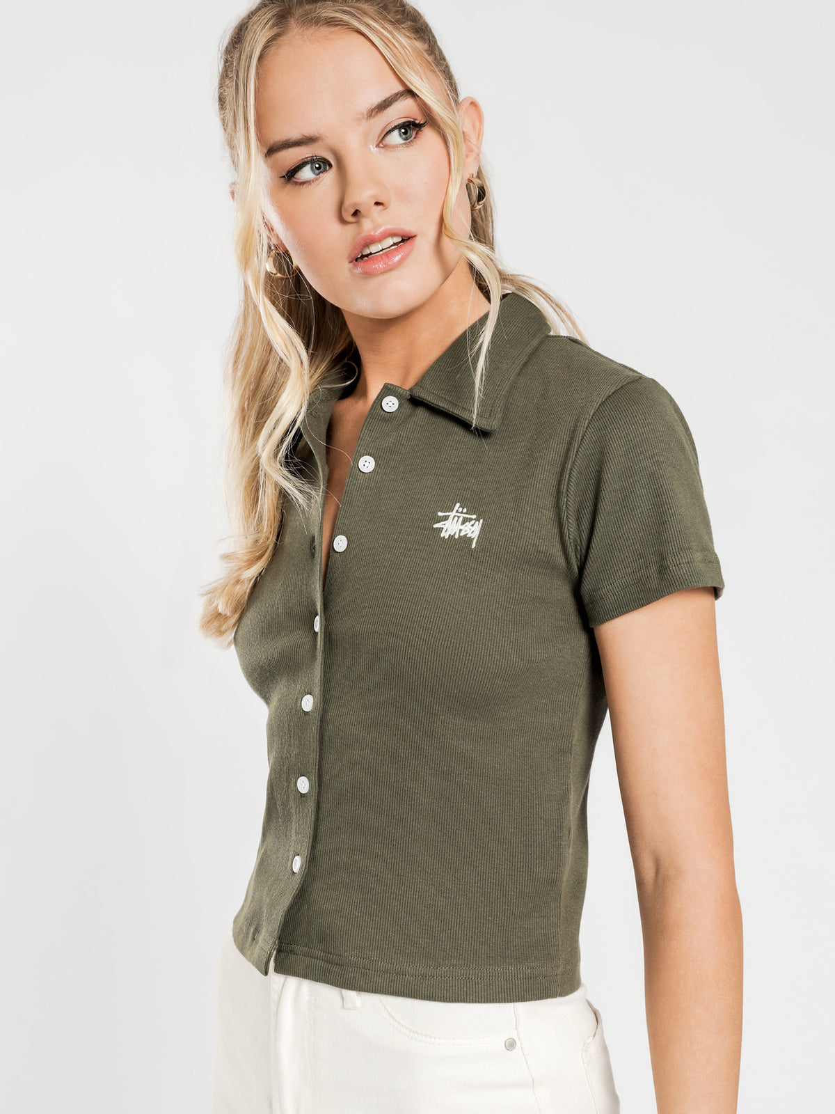 Pearson Rib Short Sleeve Shirt in Flight Green