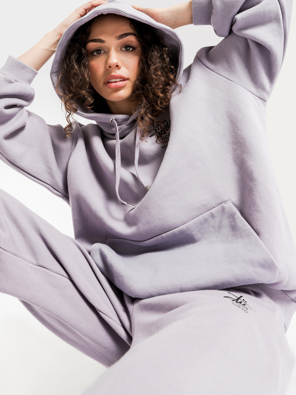 Cities Oversized Hoodie in Lilac