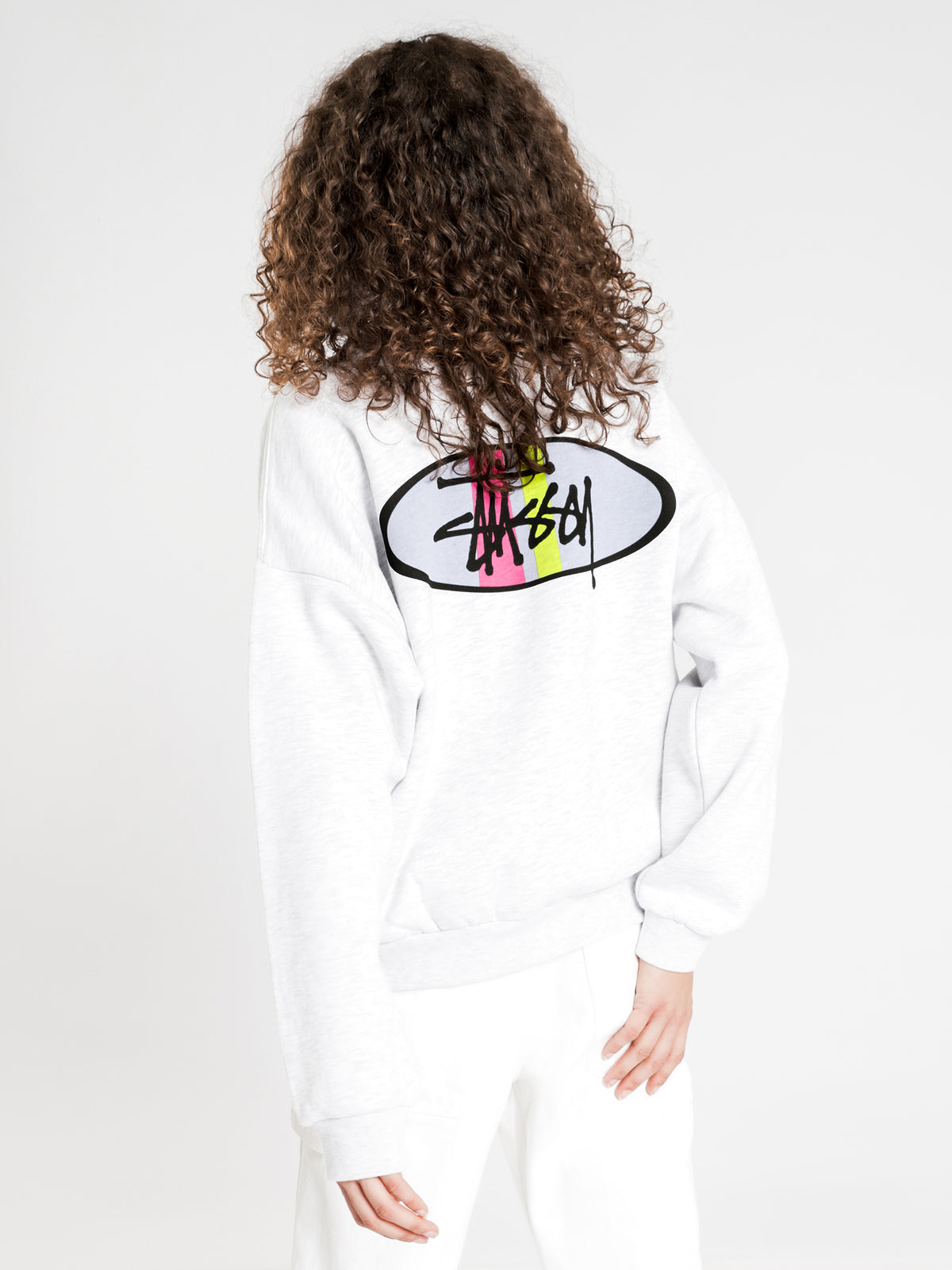 Graffiti Stripe Crew Jumper in Snow Marle