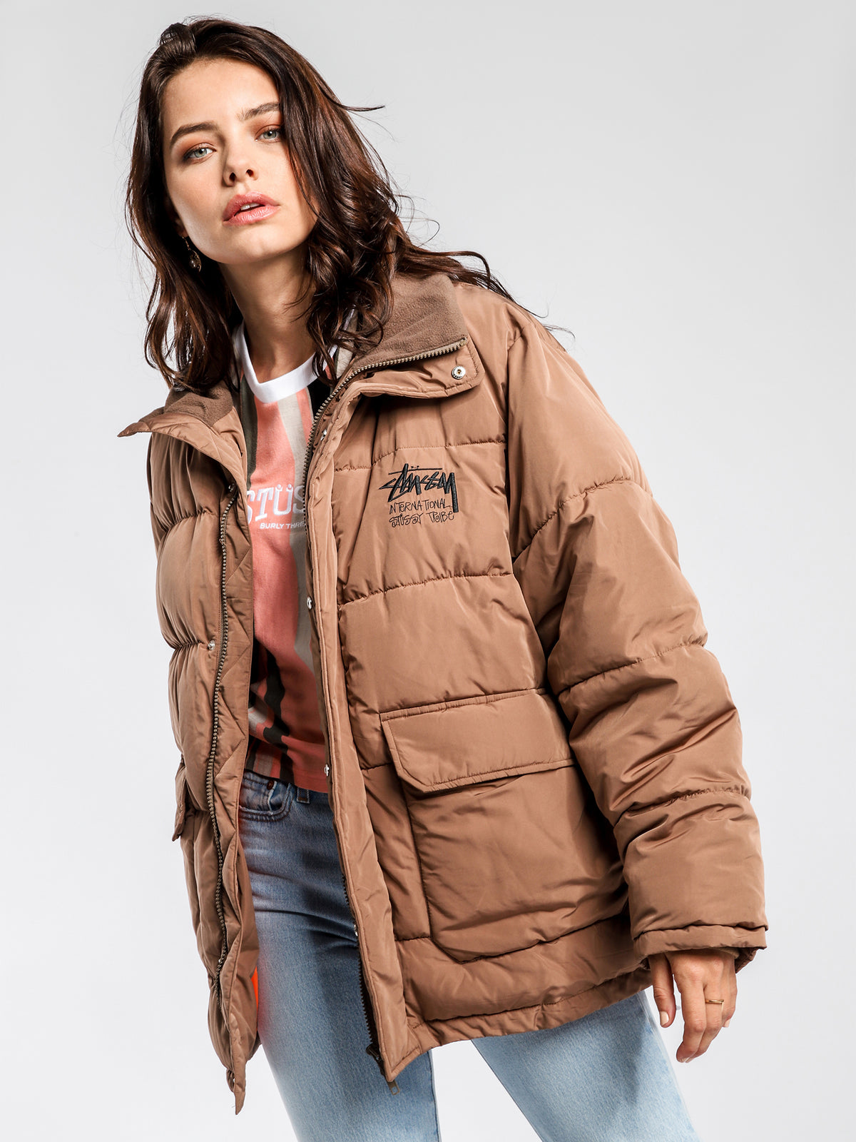 Stock Puffer Jacket in Brown