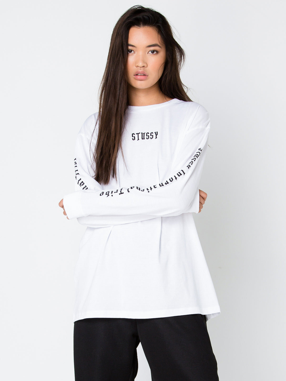 Black Letter Fade Long Sleeve T-Shirt in White