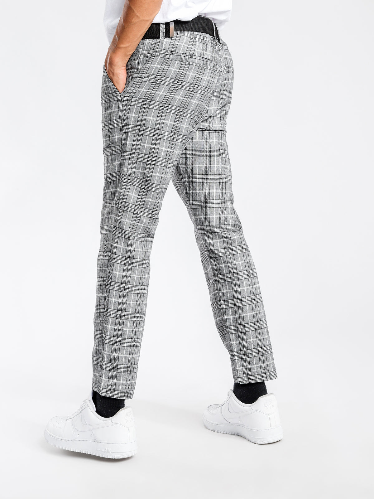 London Check Cropped Chino in Black & White