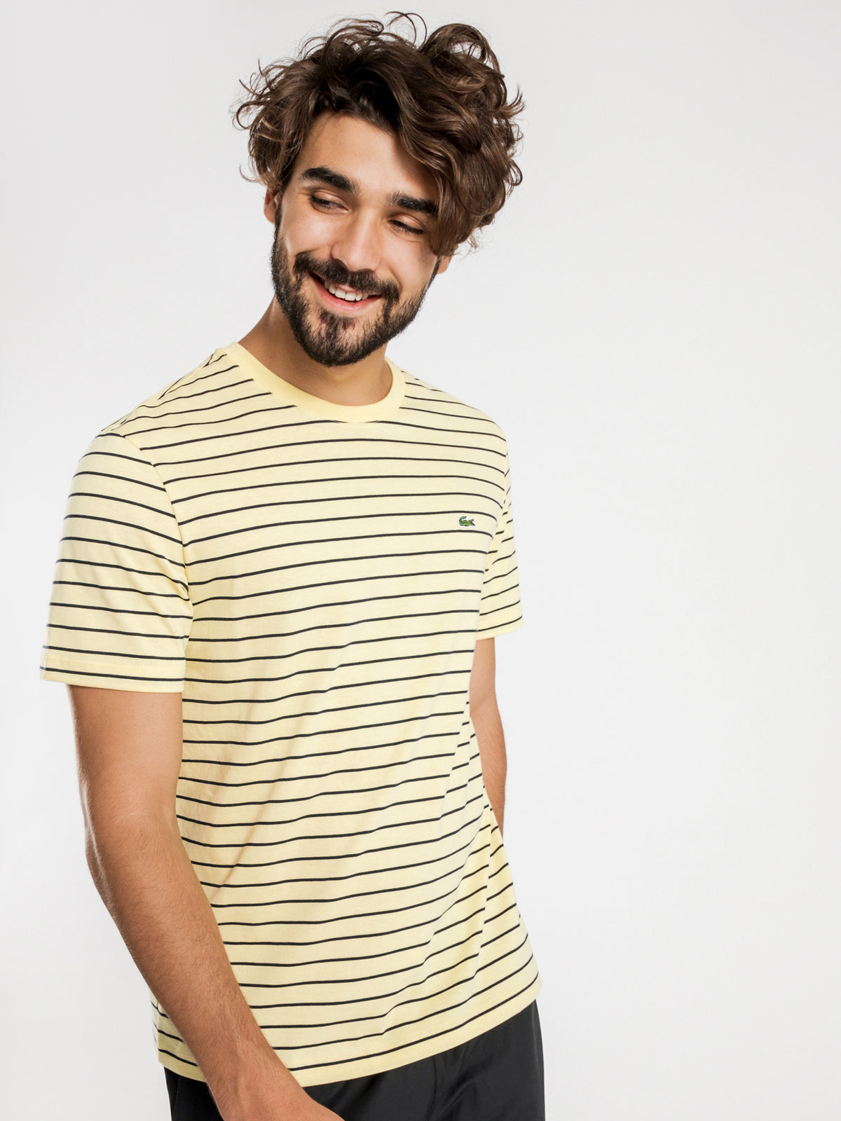 Jersey T-Shirt in Yellow & White Stripe
