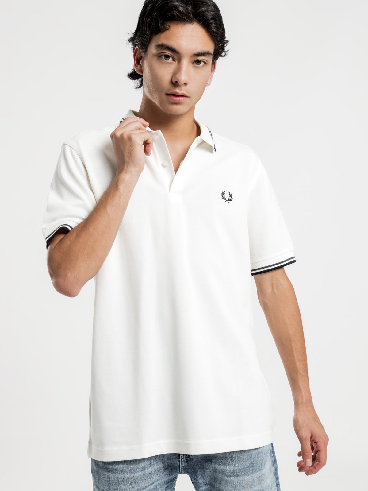 Twin Tripped Fred Perry Shirt in Snow White