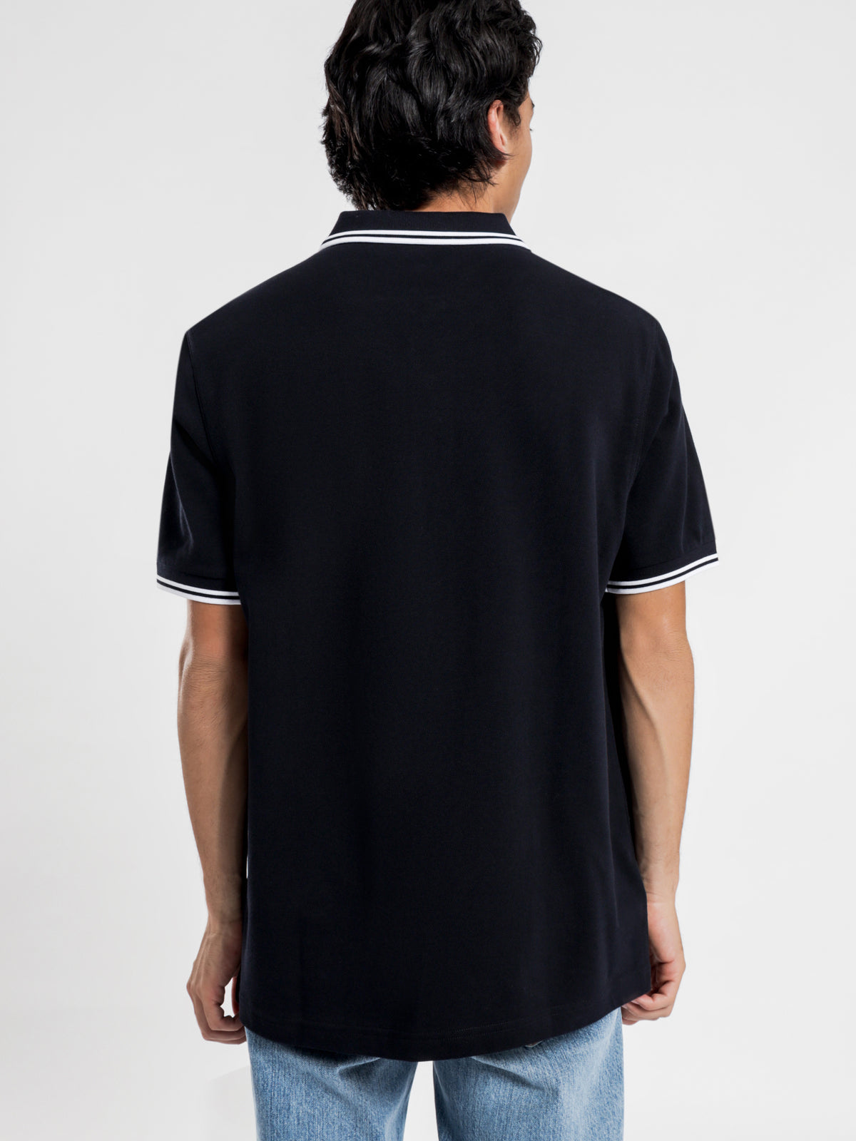 Twin Tipped Fred Perry T-Shirt in Navy & White