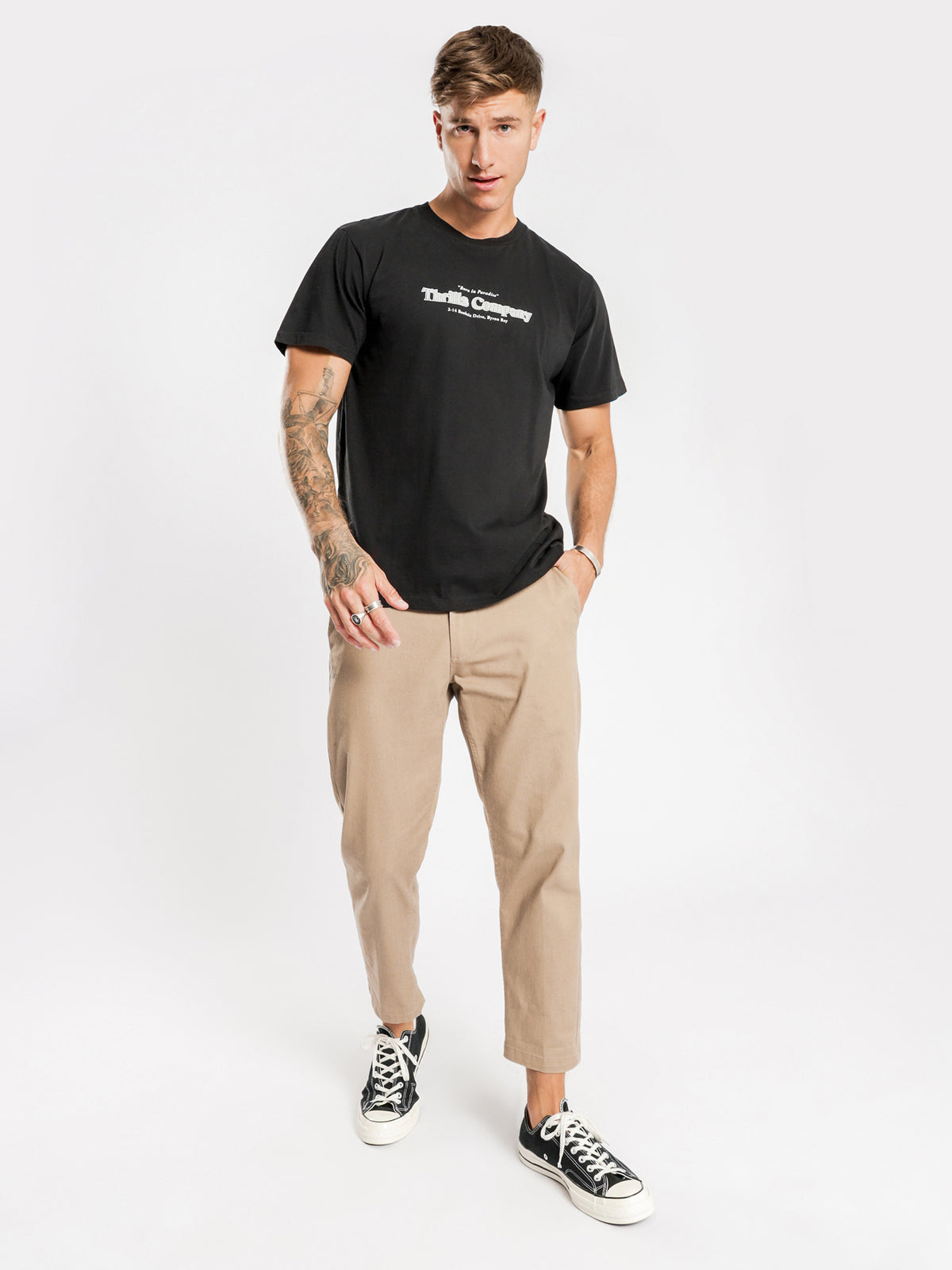 Company Pinline T-Shirt in Black