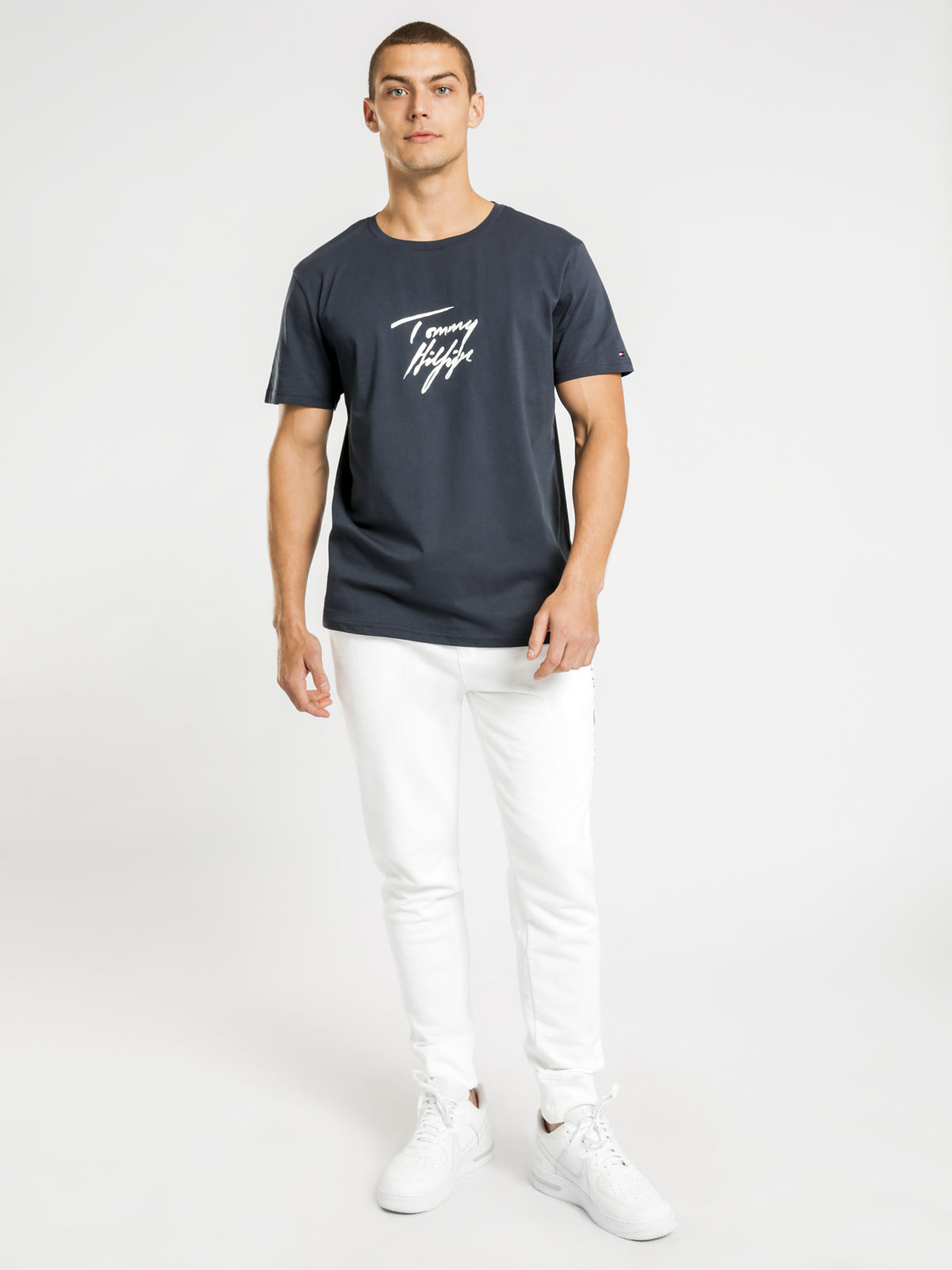 Signature Logo Organic Cotton T-Shirt in Navy