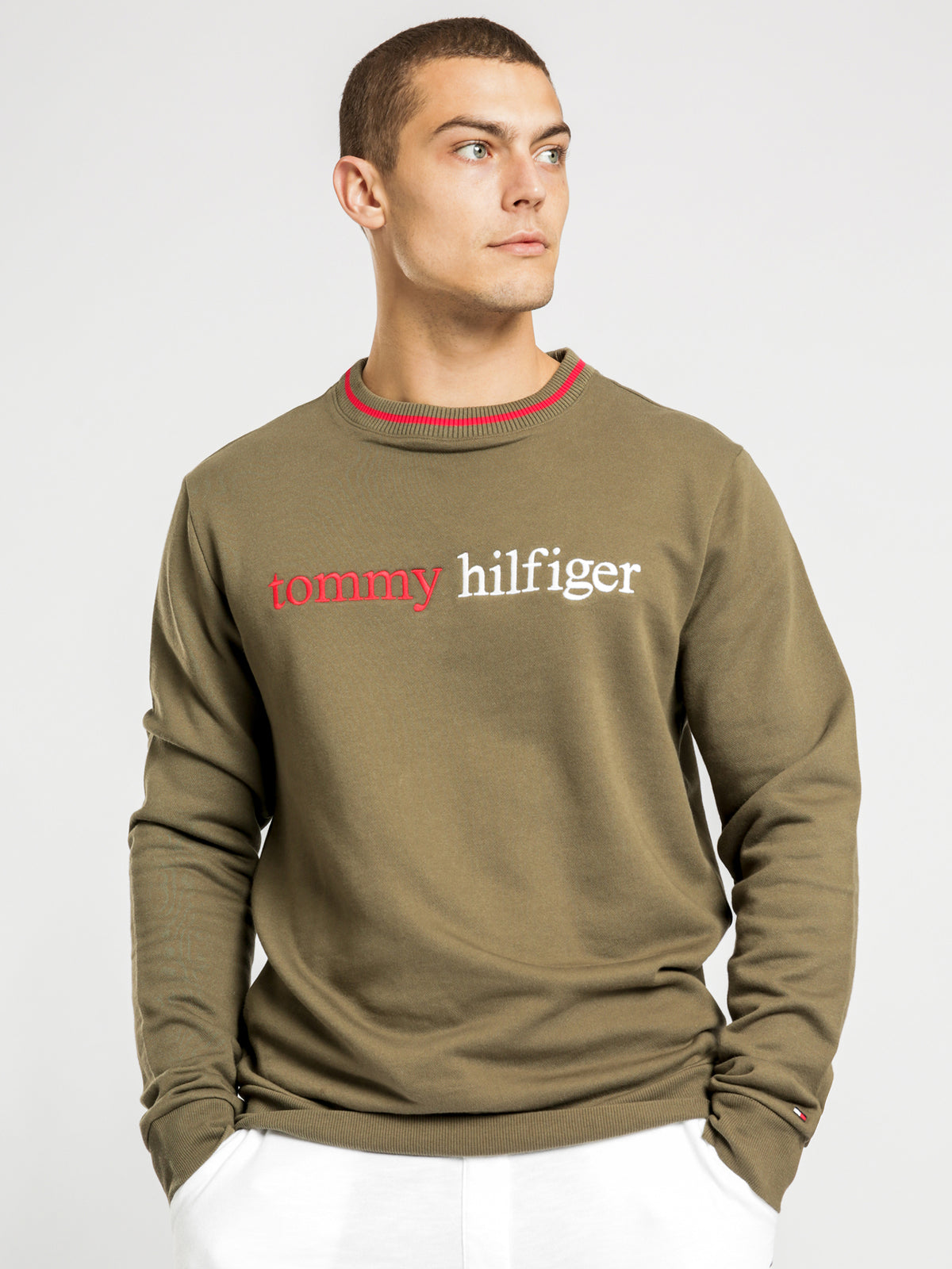 Logo Embroidery Organic Cotton Blend Sweatshirt in Khaki