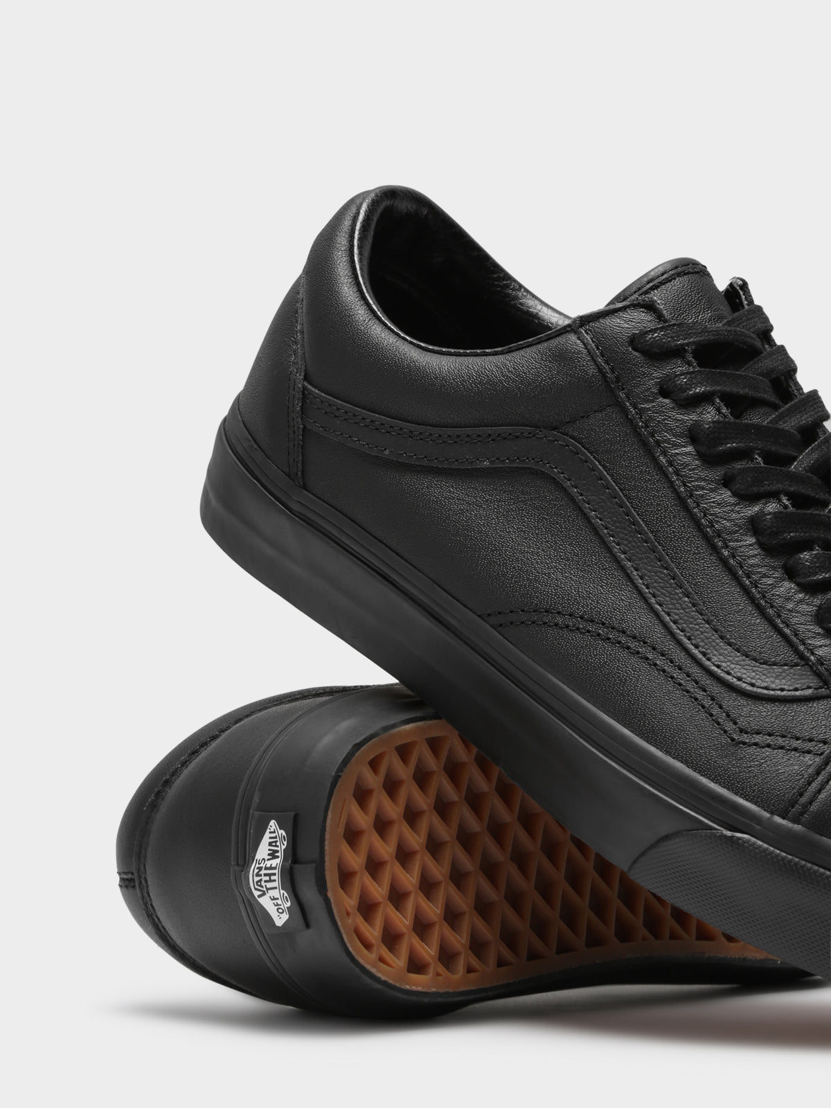 Unisex Old Skool Leather Sneakers in Triple Black