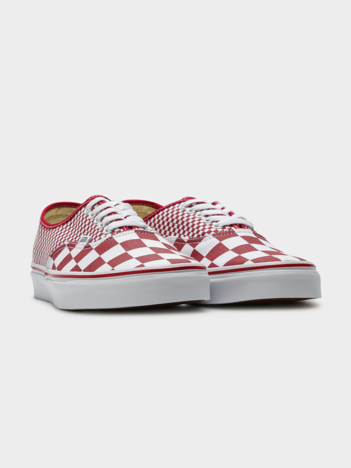 Mens Authentic Mix Checker Sneakers in Chill Pepper Red & True White