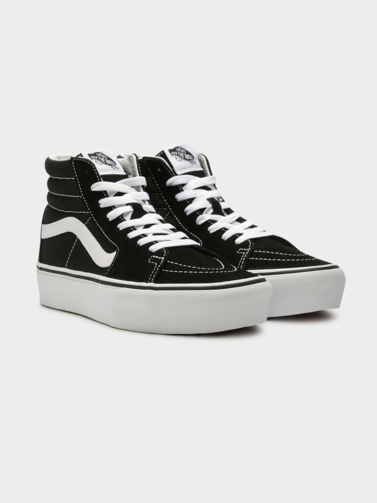 Unisex SK8 Hi-Rise Platform Sneakers in Black and White
