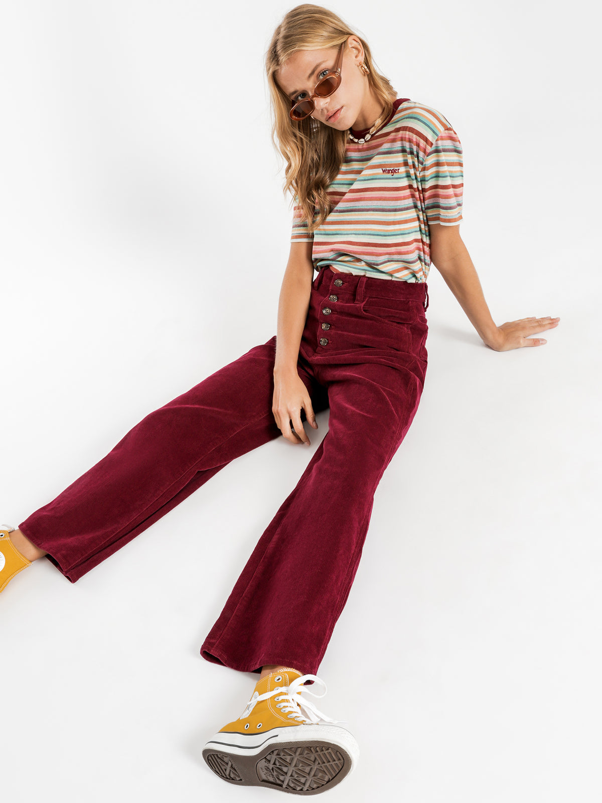 Hi Bells Cropped Jeans in Red Plum