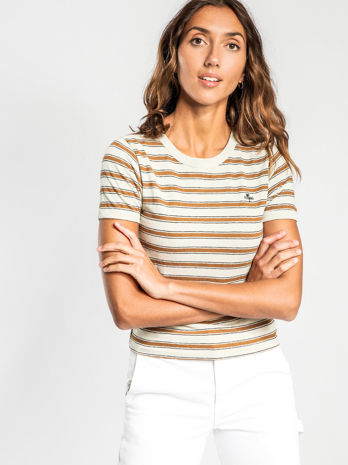 Commune T-Shirt in Cement Stripe