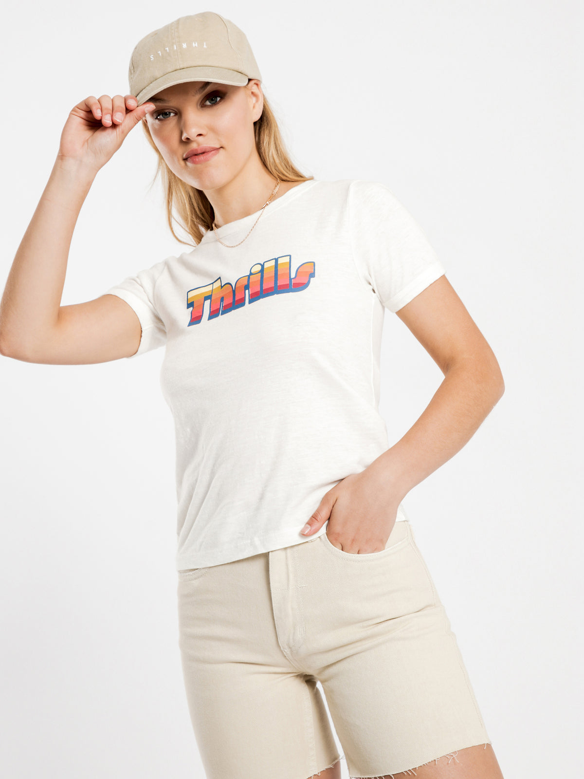 Thrills Retro T-Shirt in Dirty White
