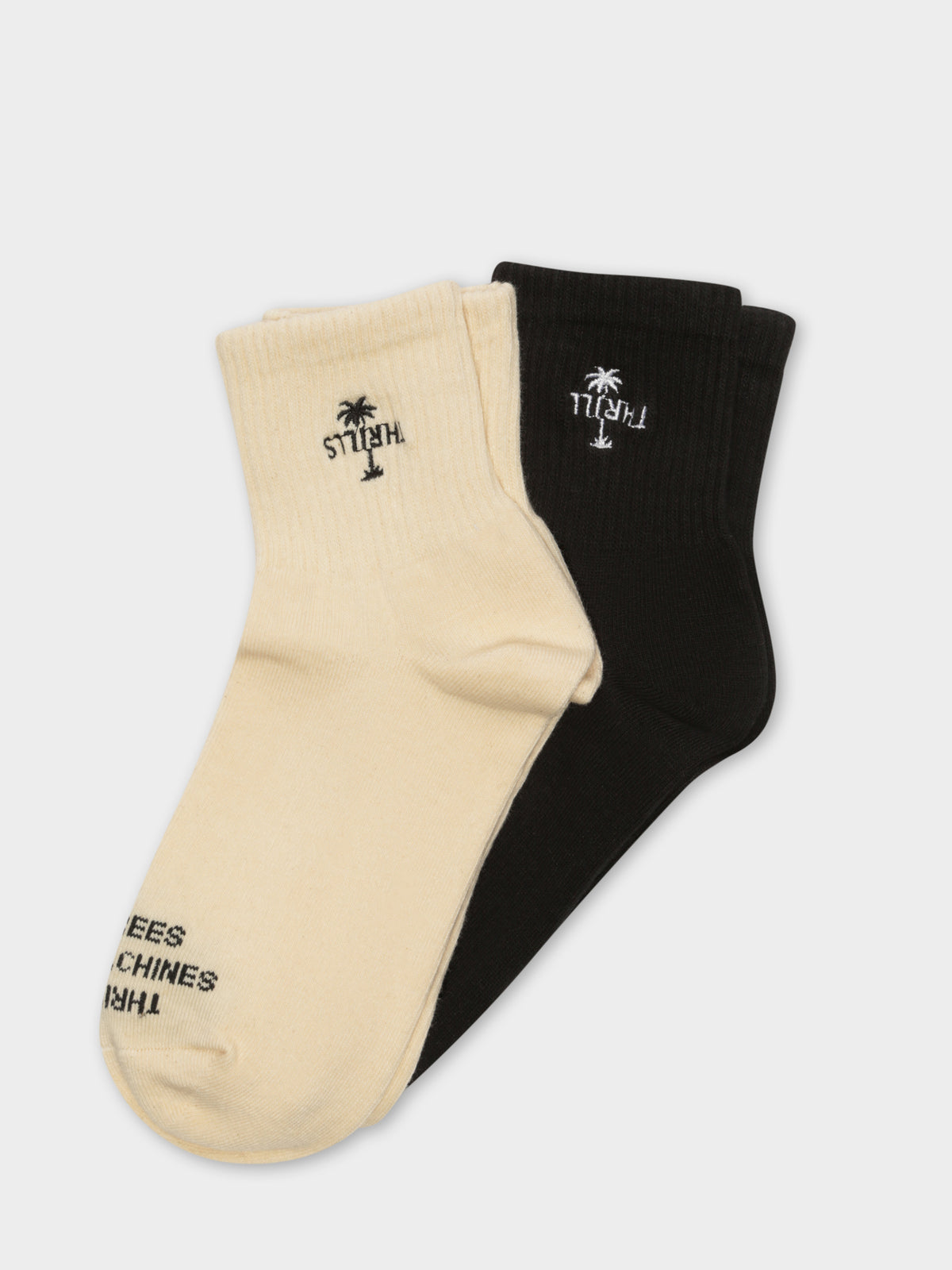 2 Pair Palm Ankle Socks in Black and Yellow