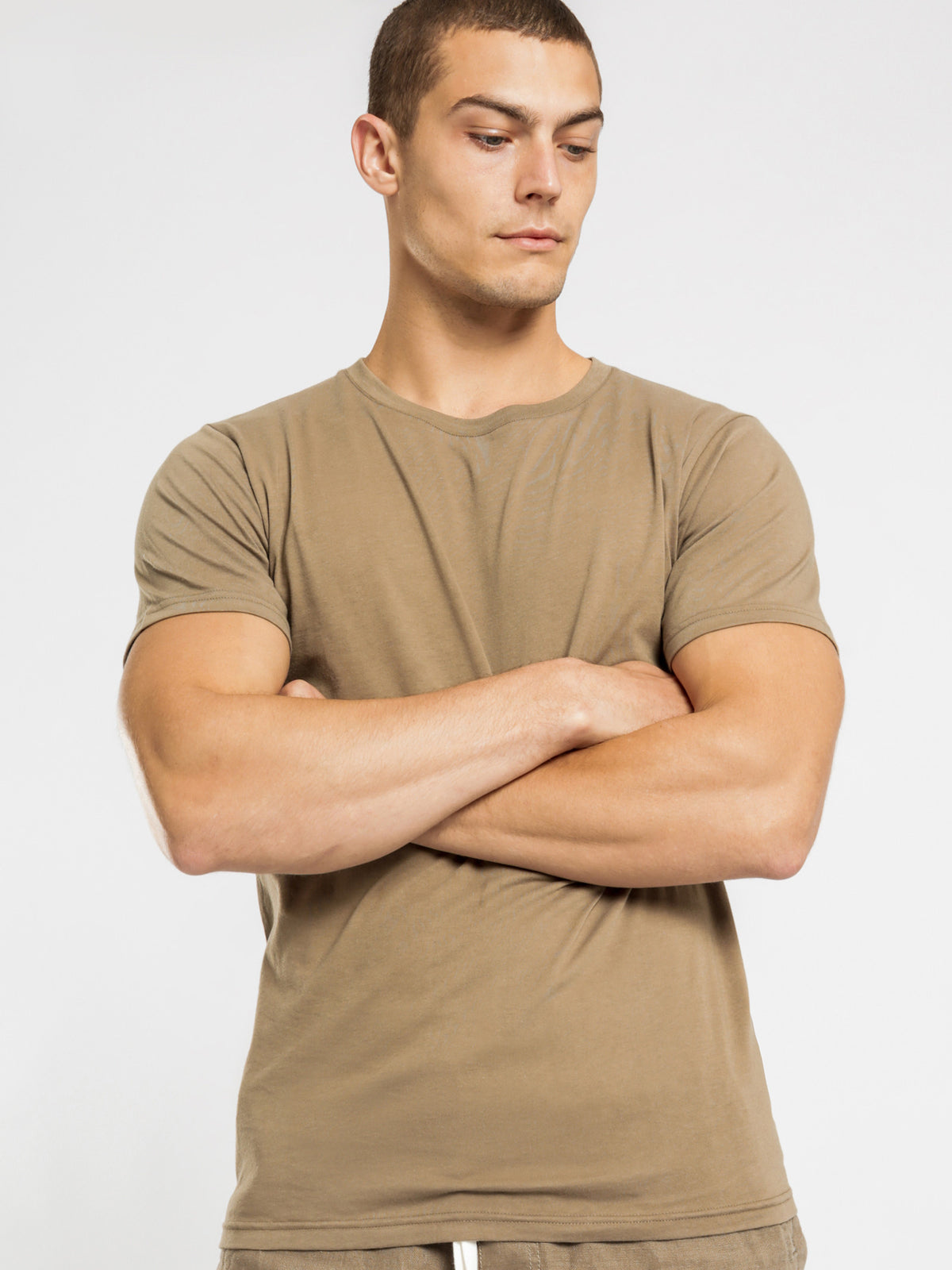 Plain Short Sleeve Crew T-Shirt in Thyme