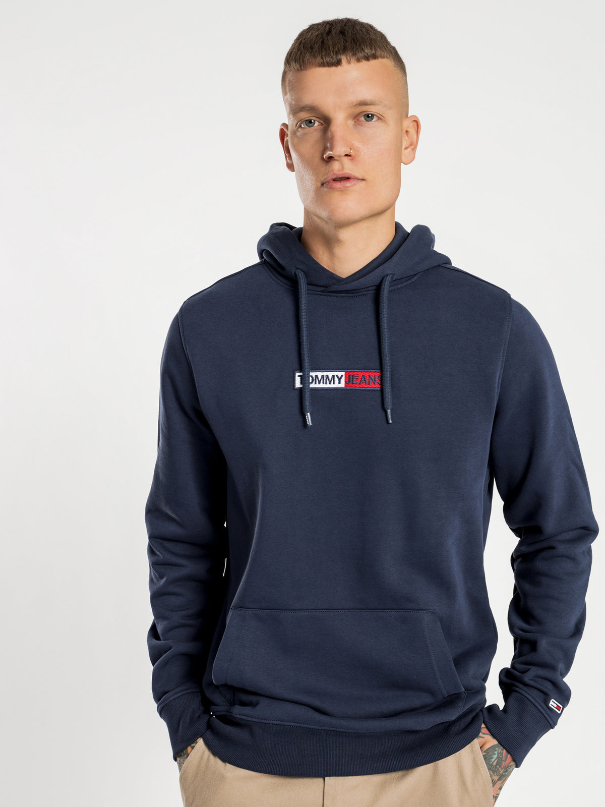 Embroidered Box Hoodie in Navy