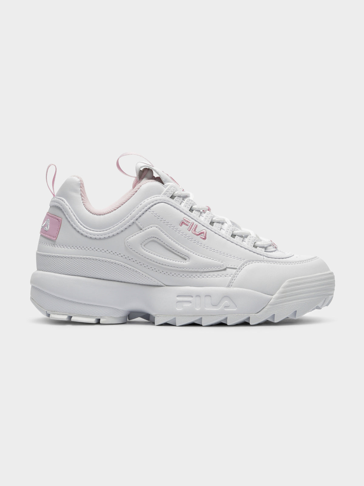 Womens Disruptor II Sneakers in White & Pink