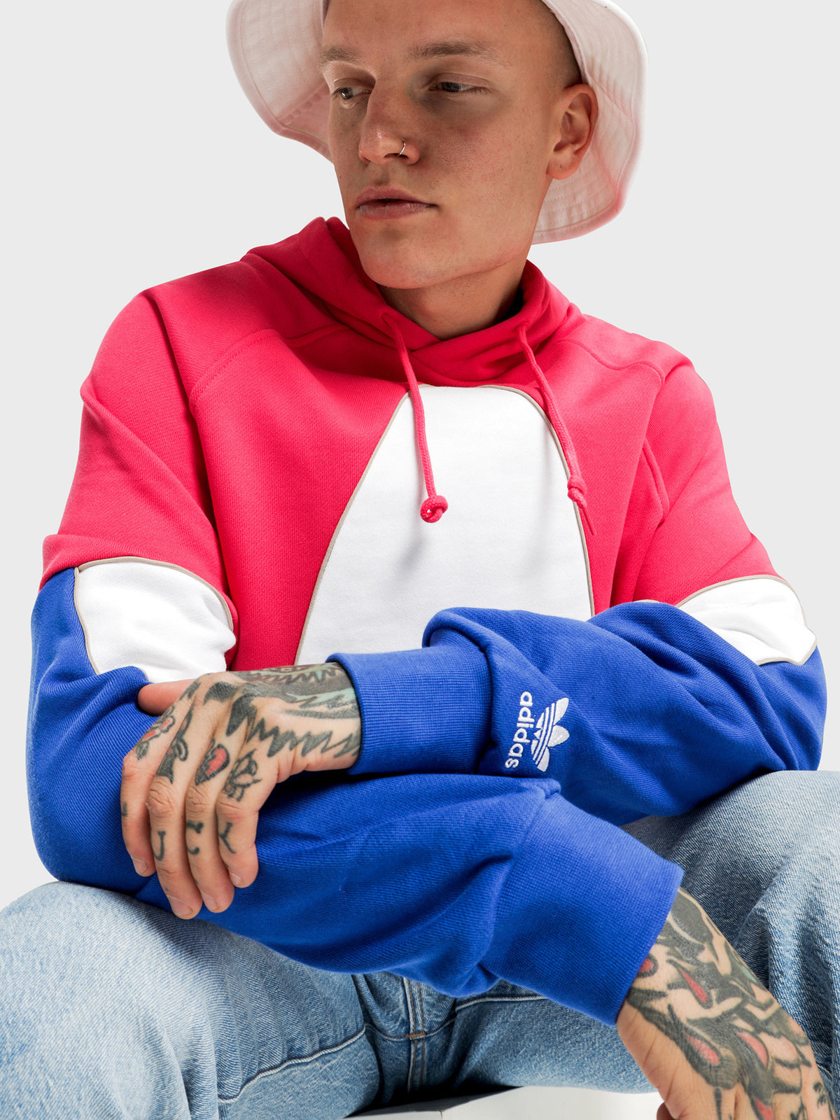 Big Trefoil Outline Colour Block Hoodie in Power Pink & Royal Blue