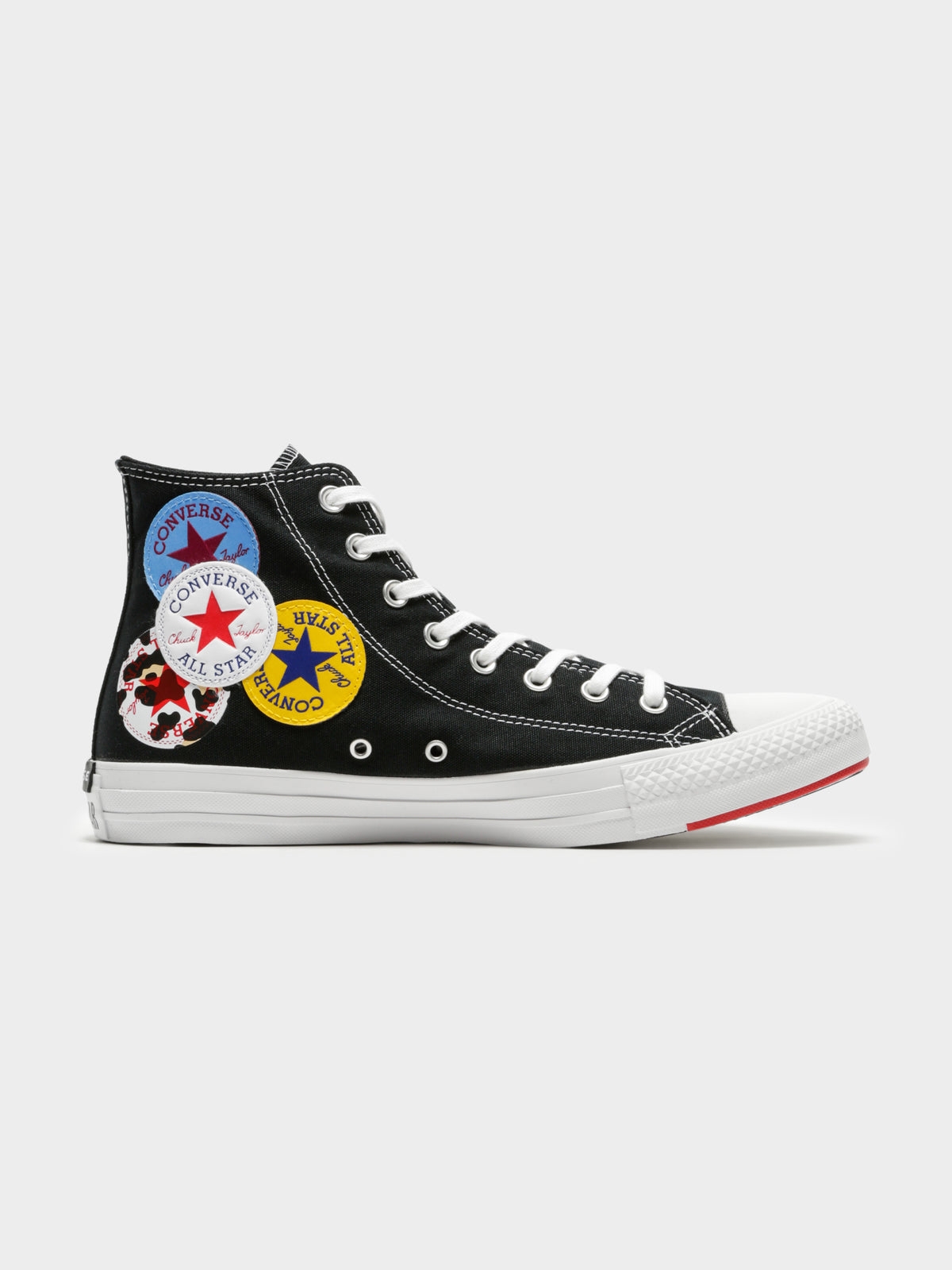 Unisex Chuck Taylor All Star Logo Play Sneakers in Black & University Red