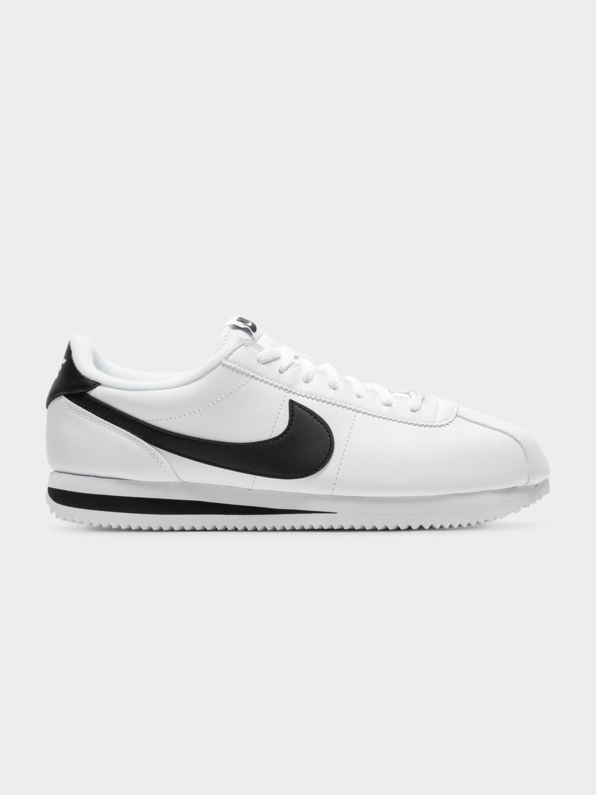Mens Basic Cortez Sneakers in White & Black Leather