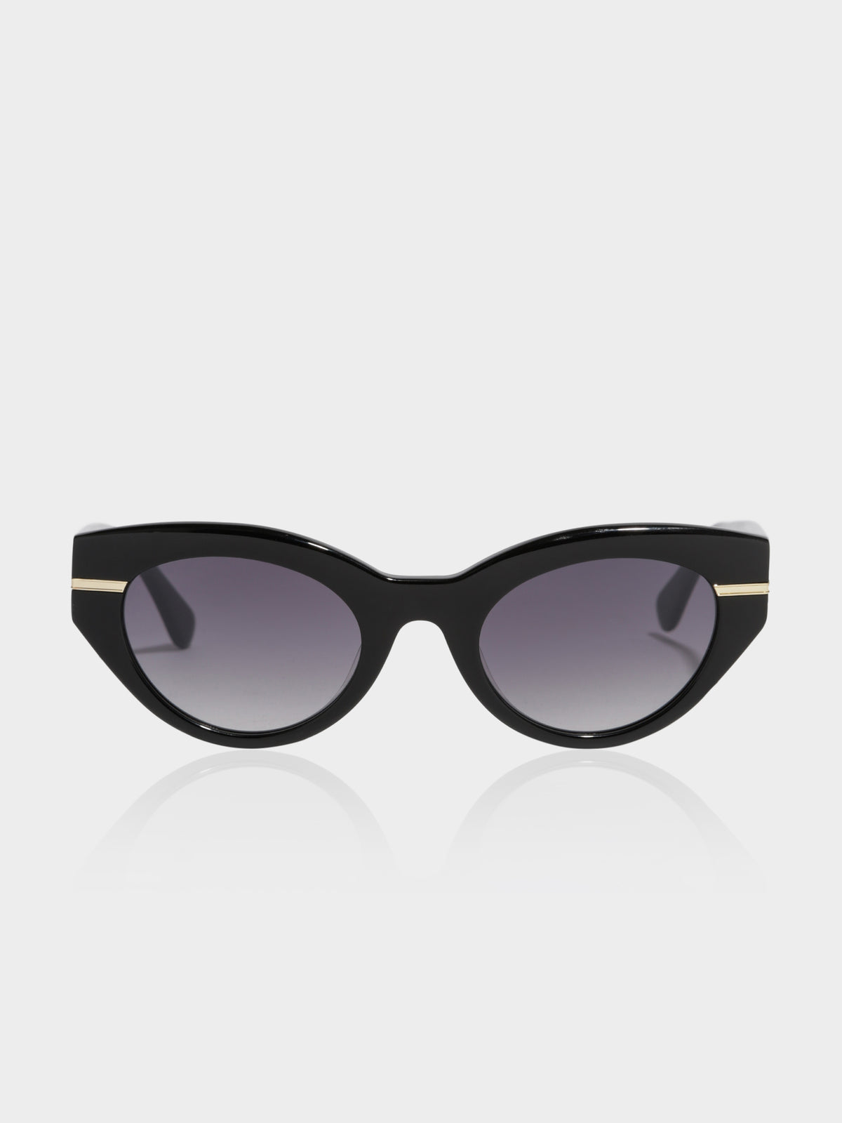 Womens Magnific Cateye Sunglasses in Black with Gradient Smoke Lens