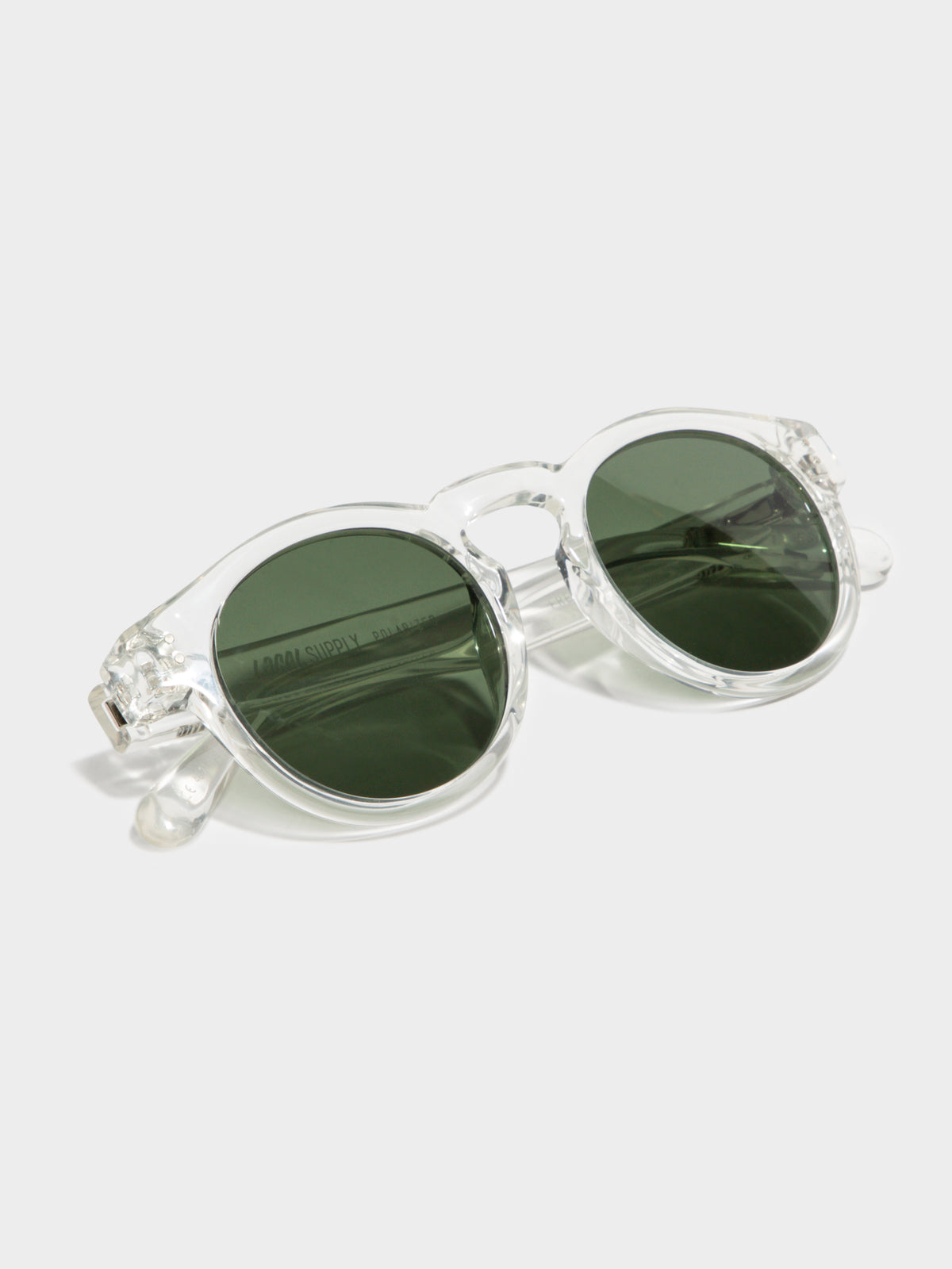 Freeway CRP2 Polished Green Lens Sunglasses in Clear