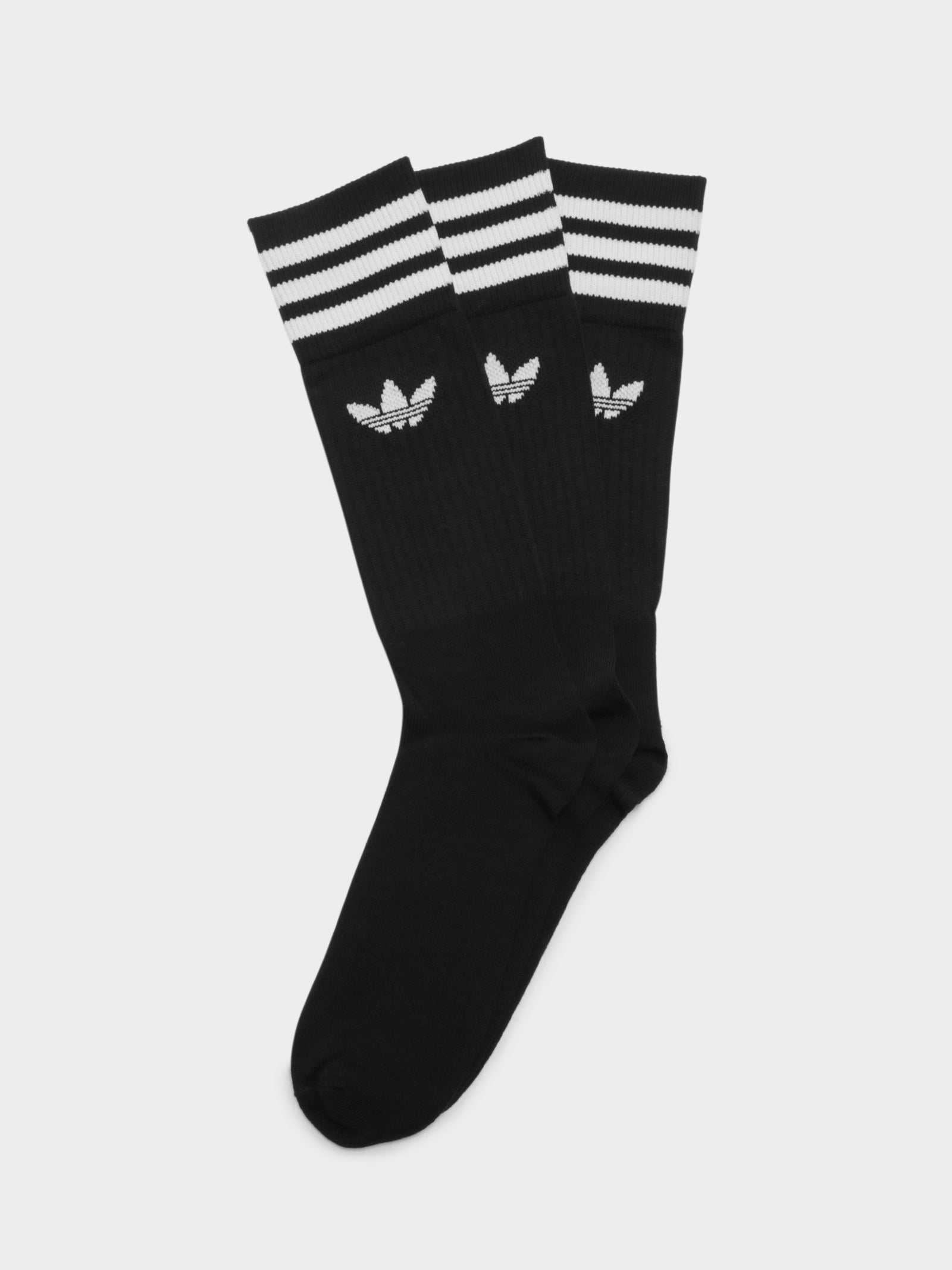 3 Pairs of Solid Crew Socks in Black