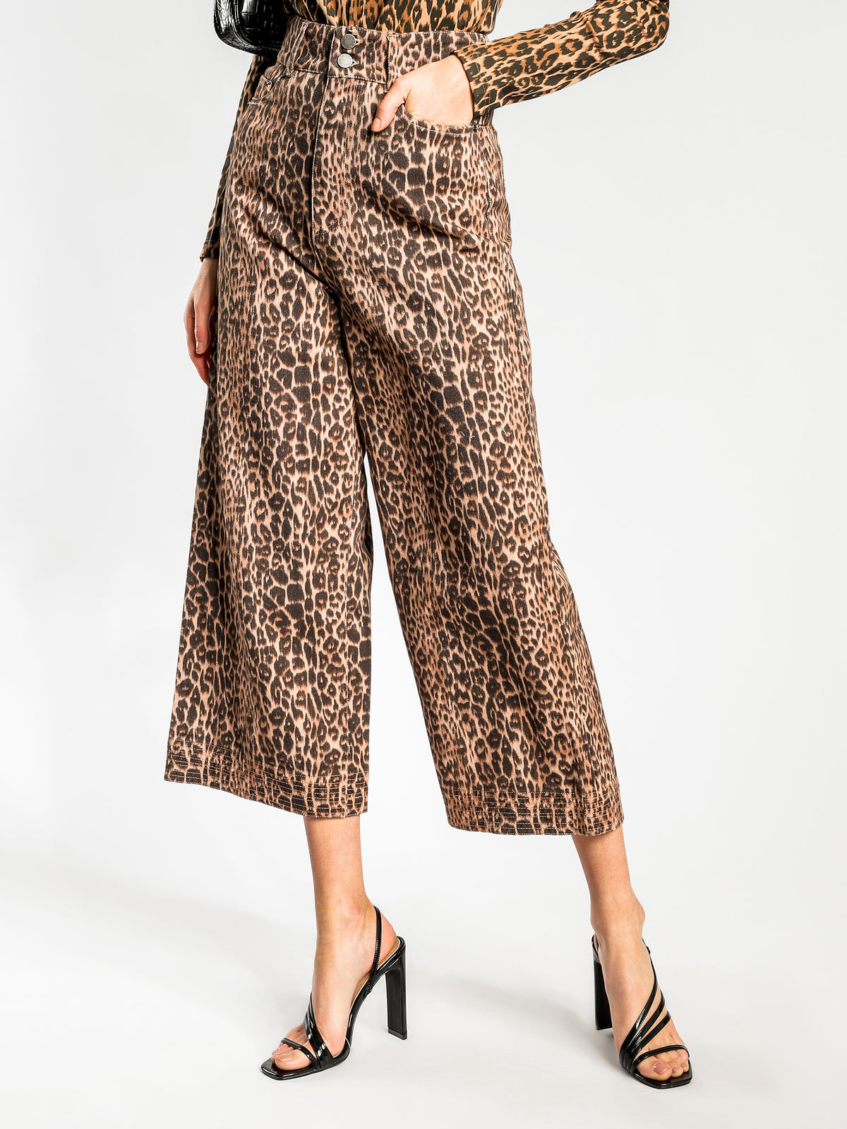 Reiterate Wide-Leg Jeans in Brown Leopard Denim