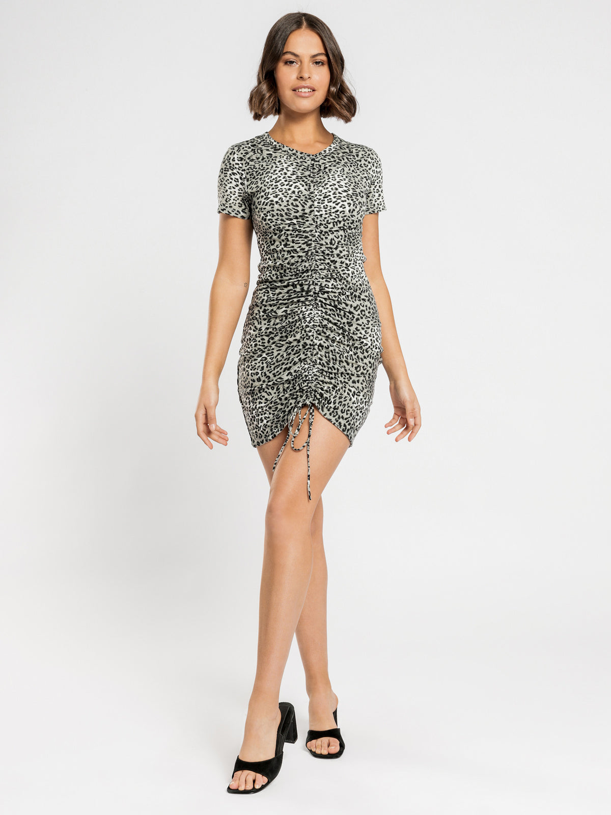 Deja Leopard Long Sleeve Dress in Green & Black