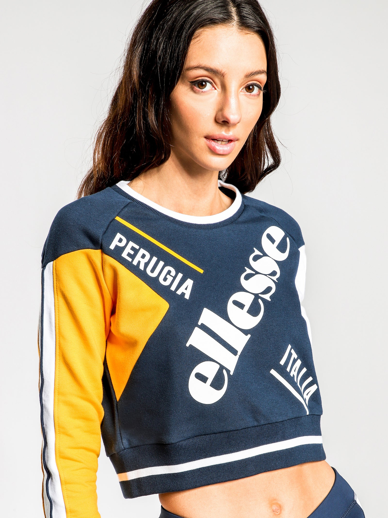 Mania Crew Jumper in Blue & Yellow
