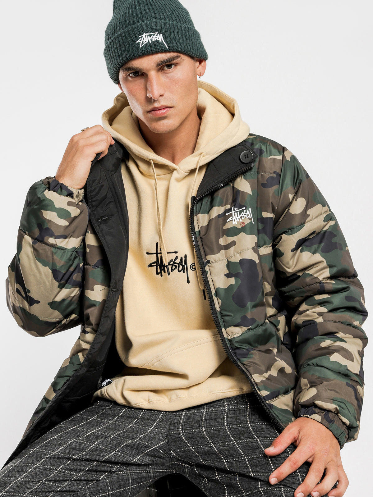 Graffiti Reversible Puffa Jacket in Camouflage & Black
