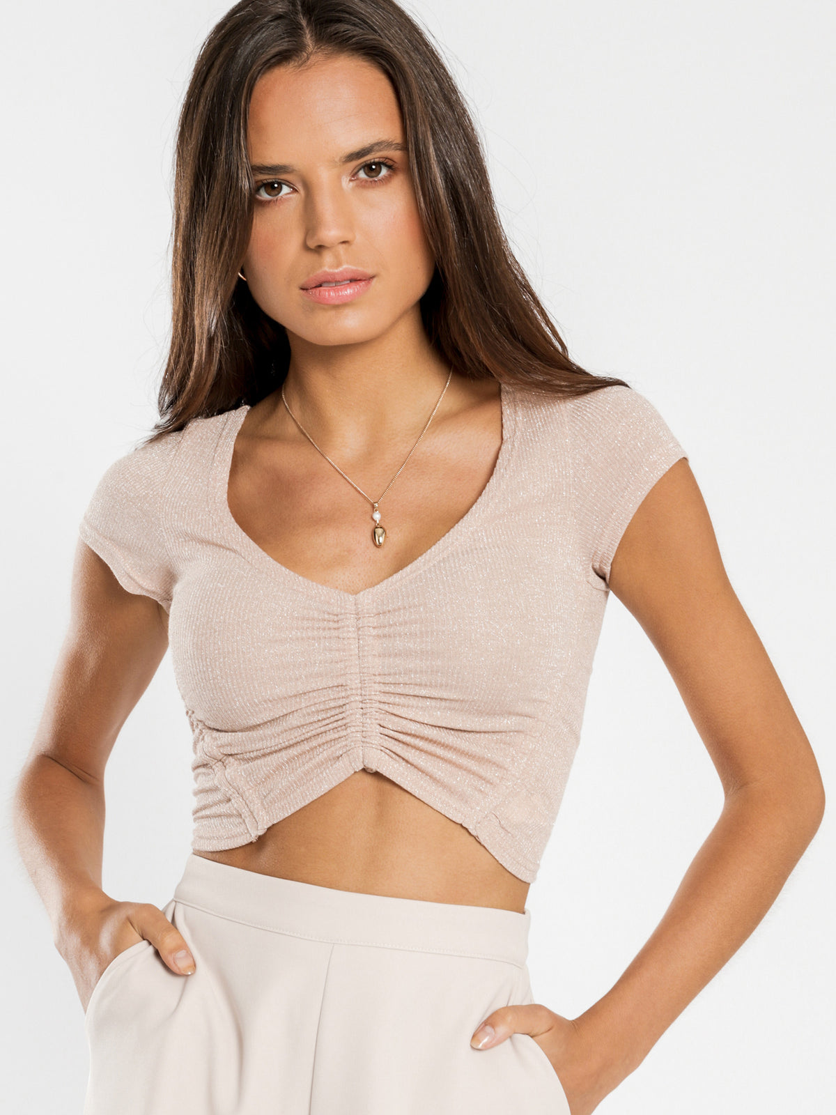Lexi Mesh Gathered T-Shirt in Beige