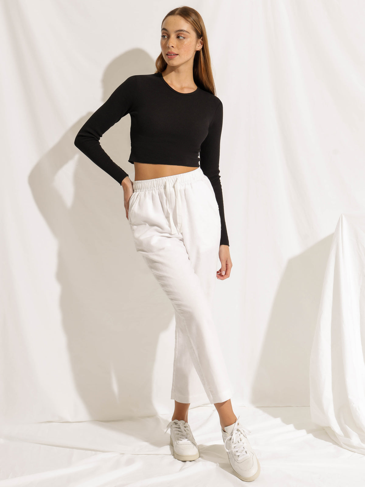 Cameron Long Sleeve Waffle Crop in Black