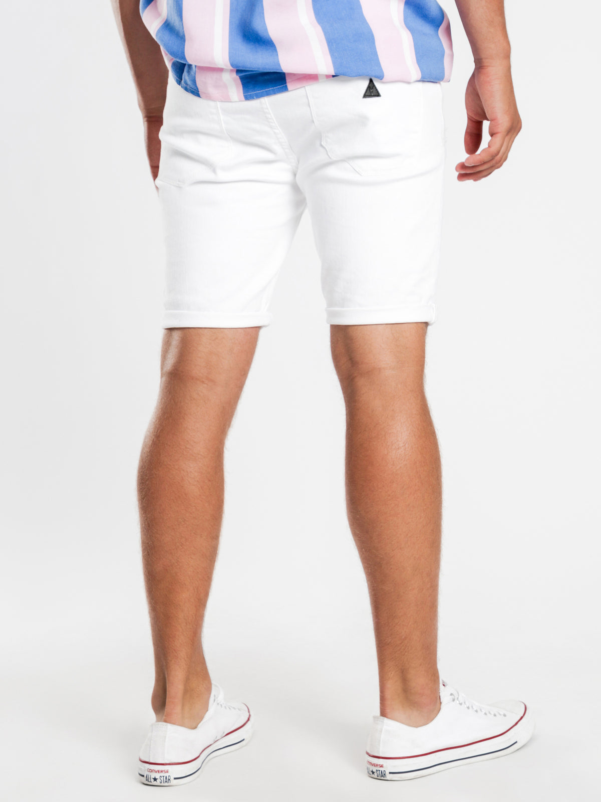 A Dropped Skinny Shorts in Rouge White Denim