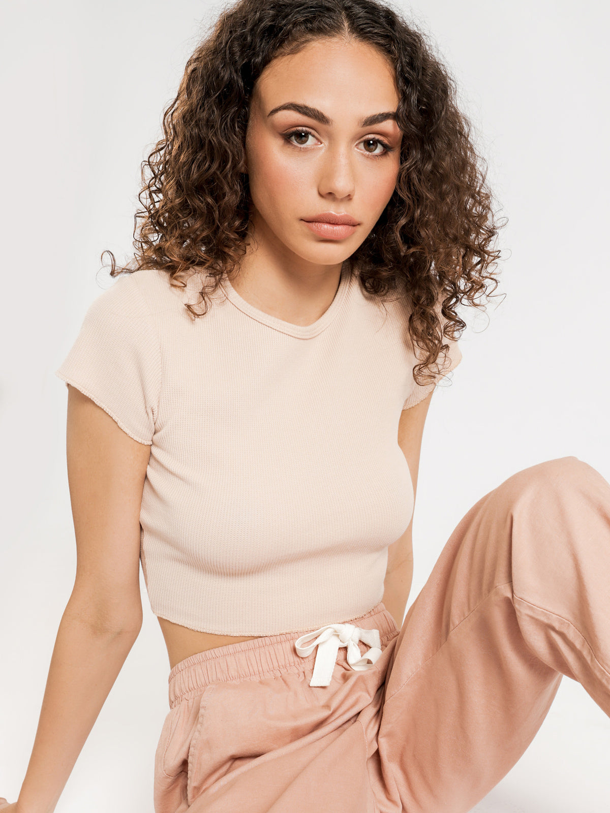 Cameron Basic Waffle T-Shirt in Pink