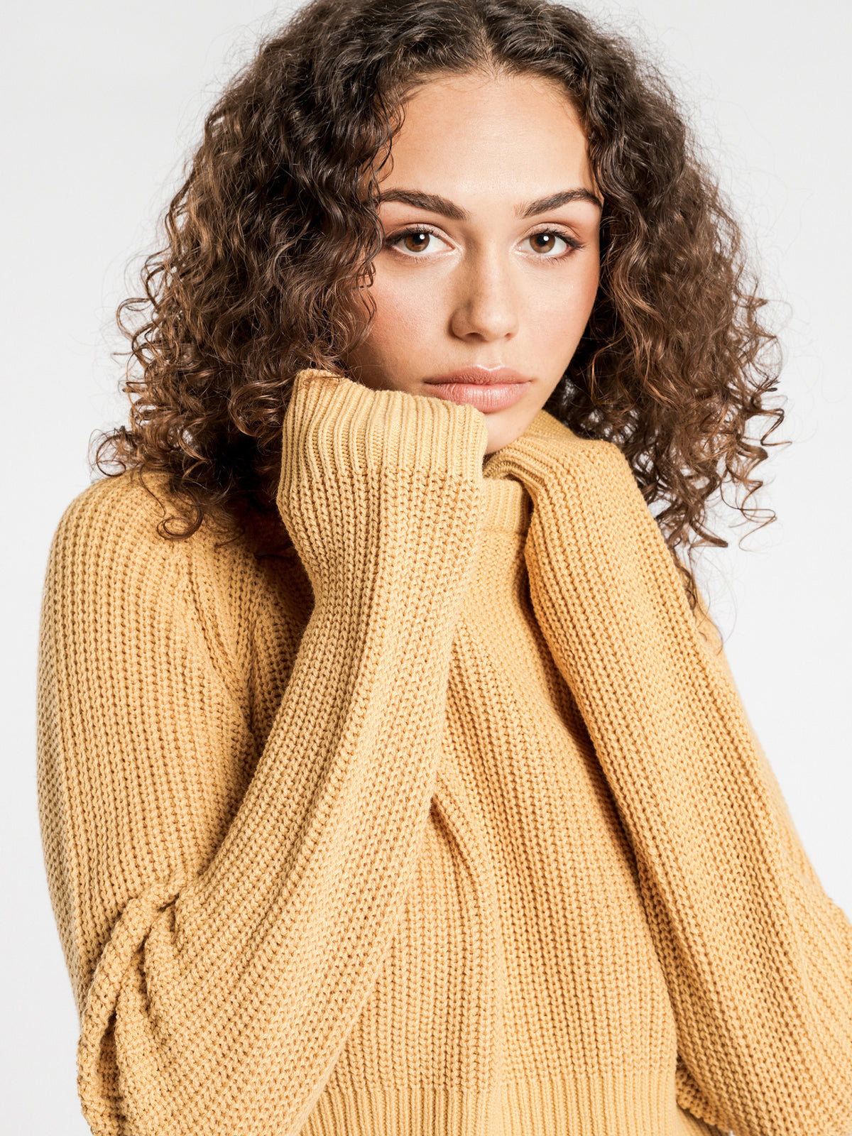 Brooklyn Crop Knit in Washed Mustard
