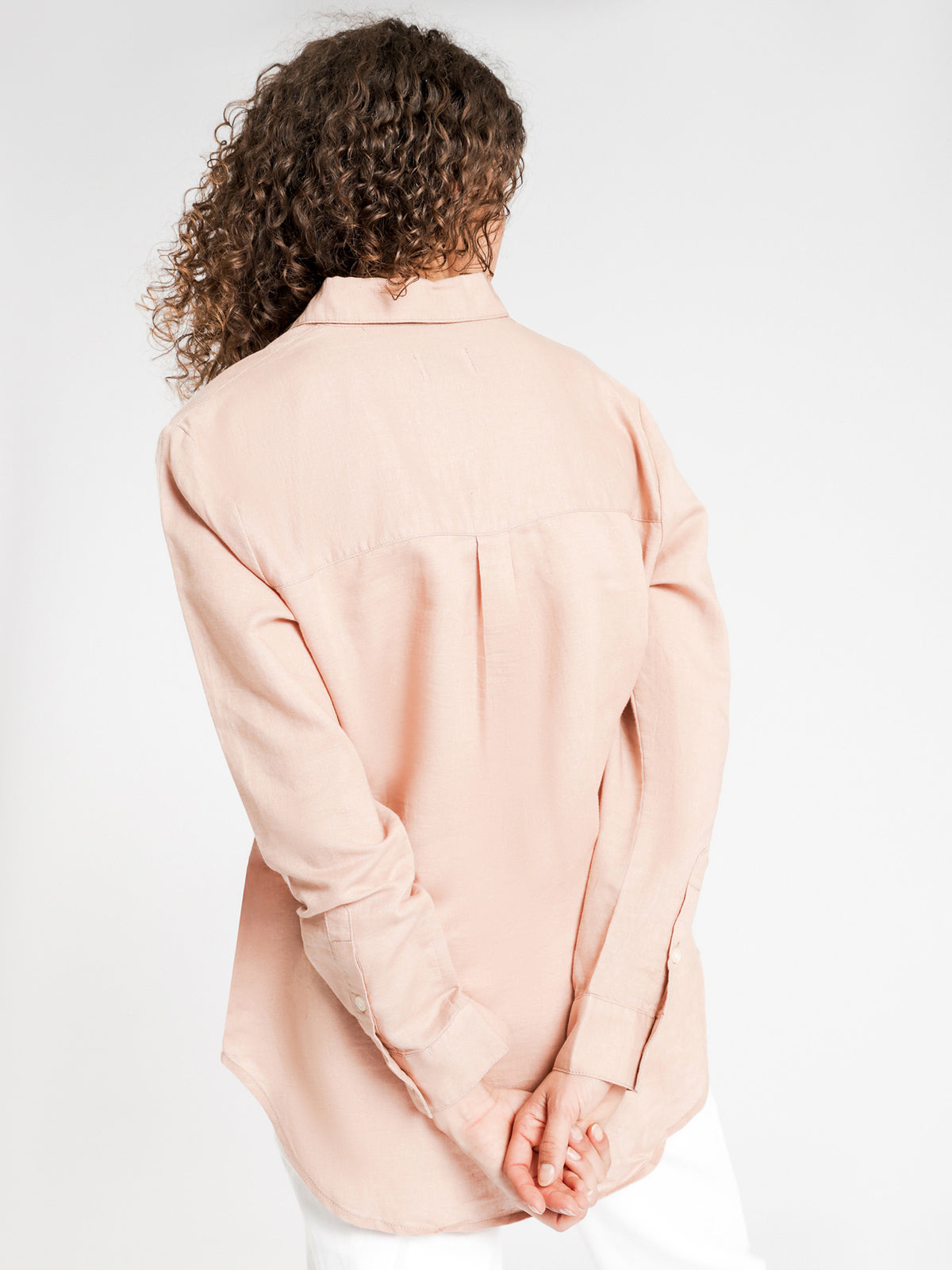 Classic Linen Shirt in Deep Blush