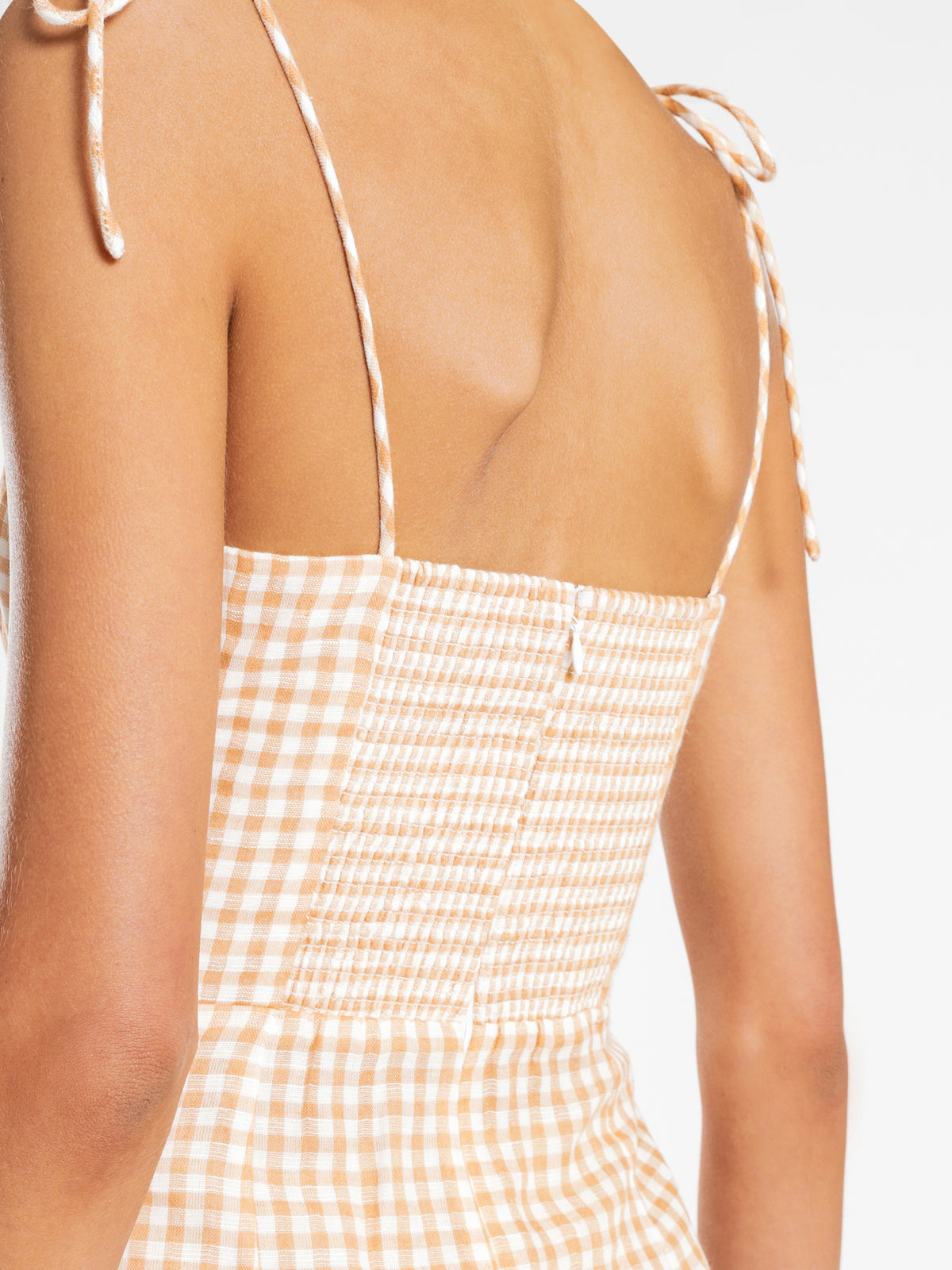 Mia Gingham Dress in Papaya Check