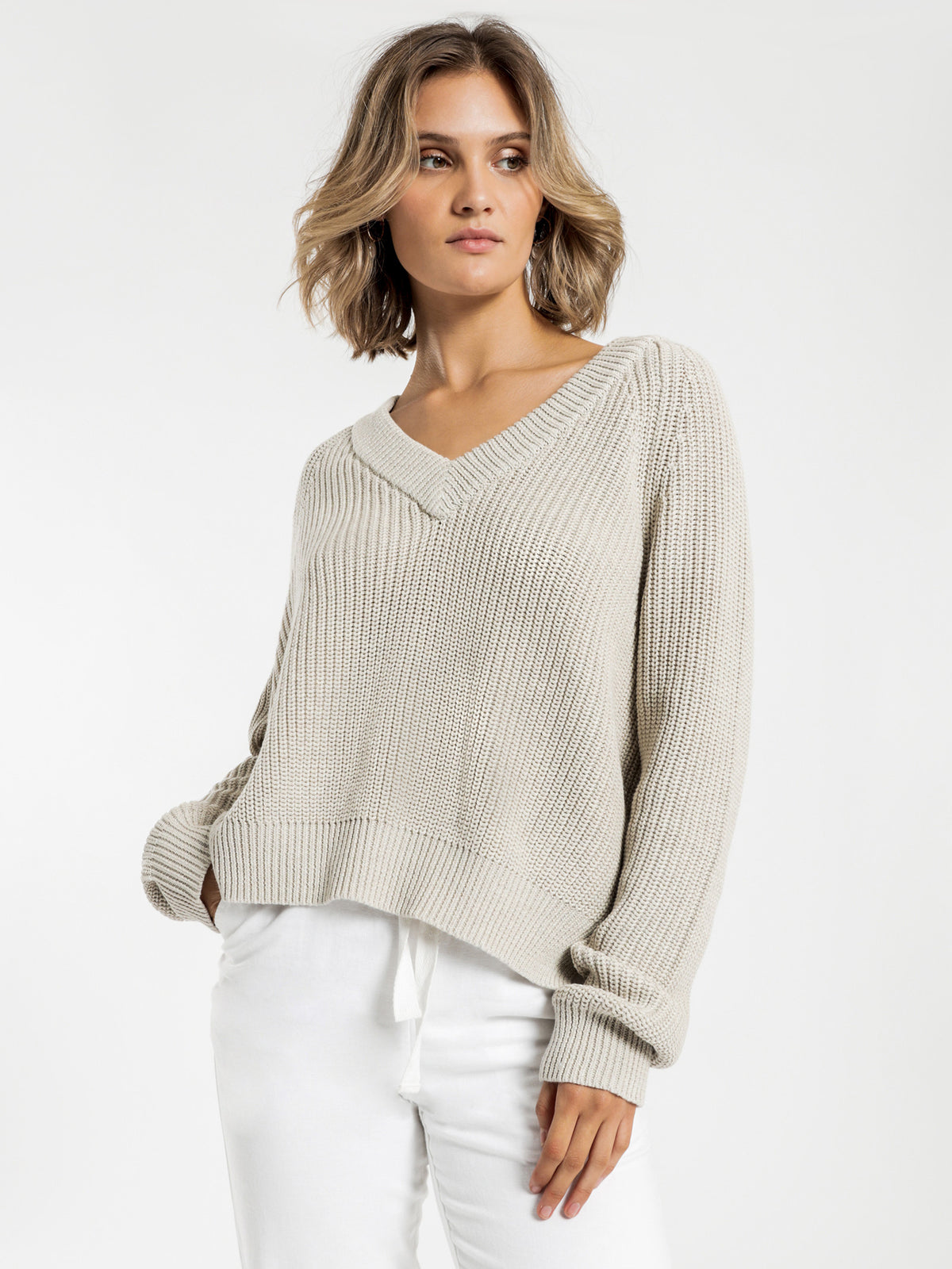 Kimber V Neck Knit in Cream Marle
