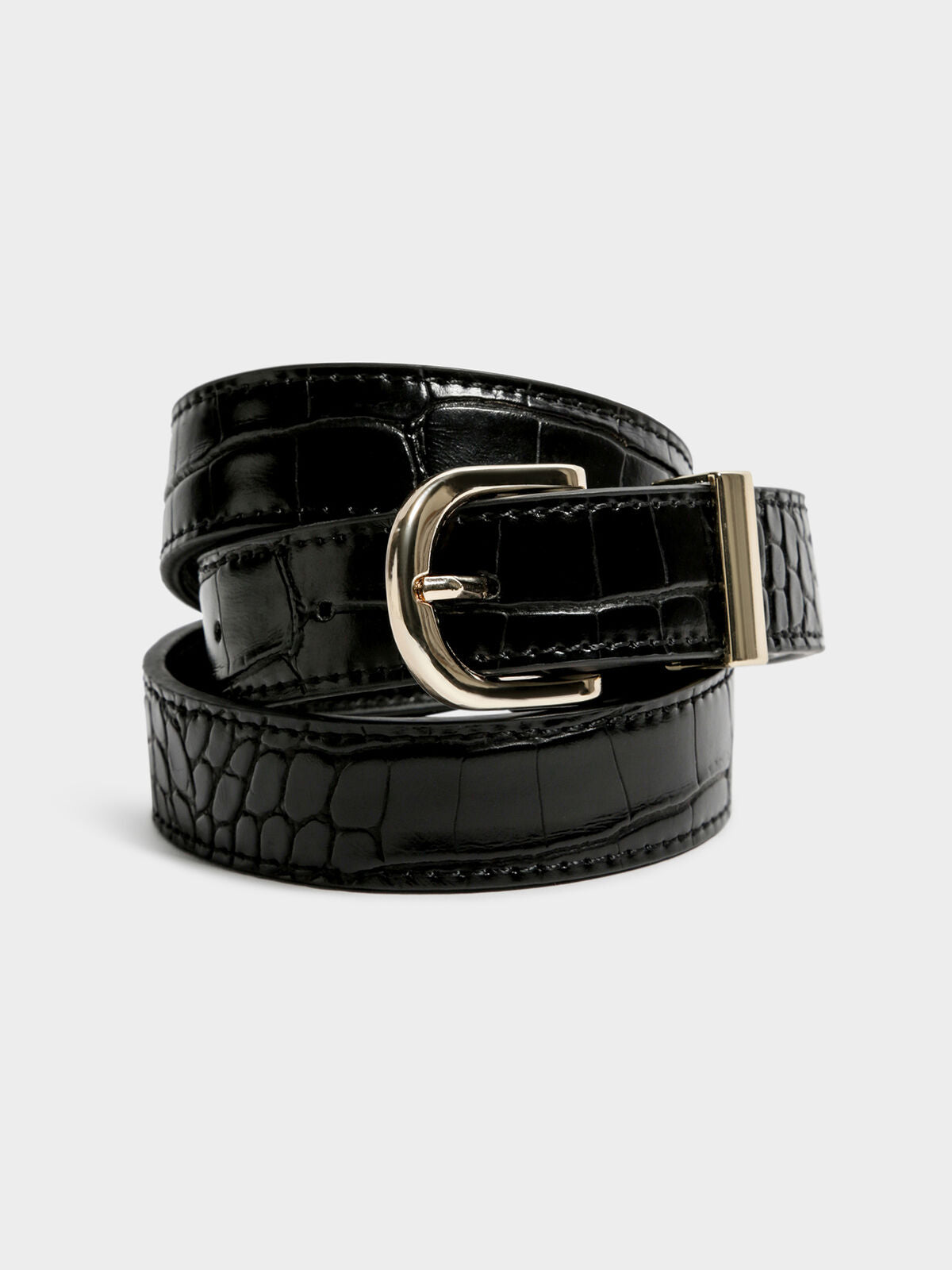 Kendrick Belt in Black Croc