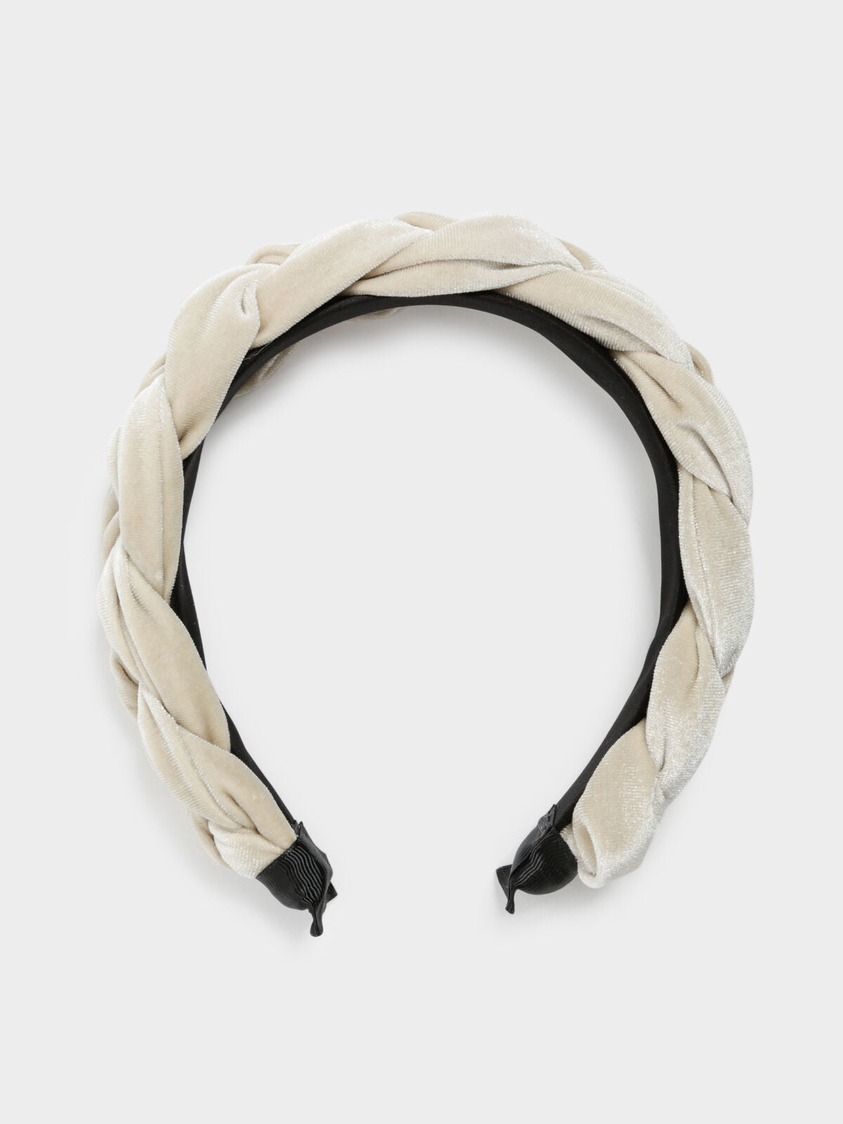 Velvet Plait Headband in Vanilla White