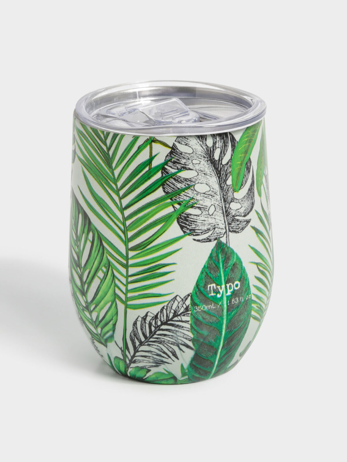Metal Travel Tumbler in White Fern Foliage