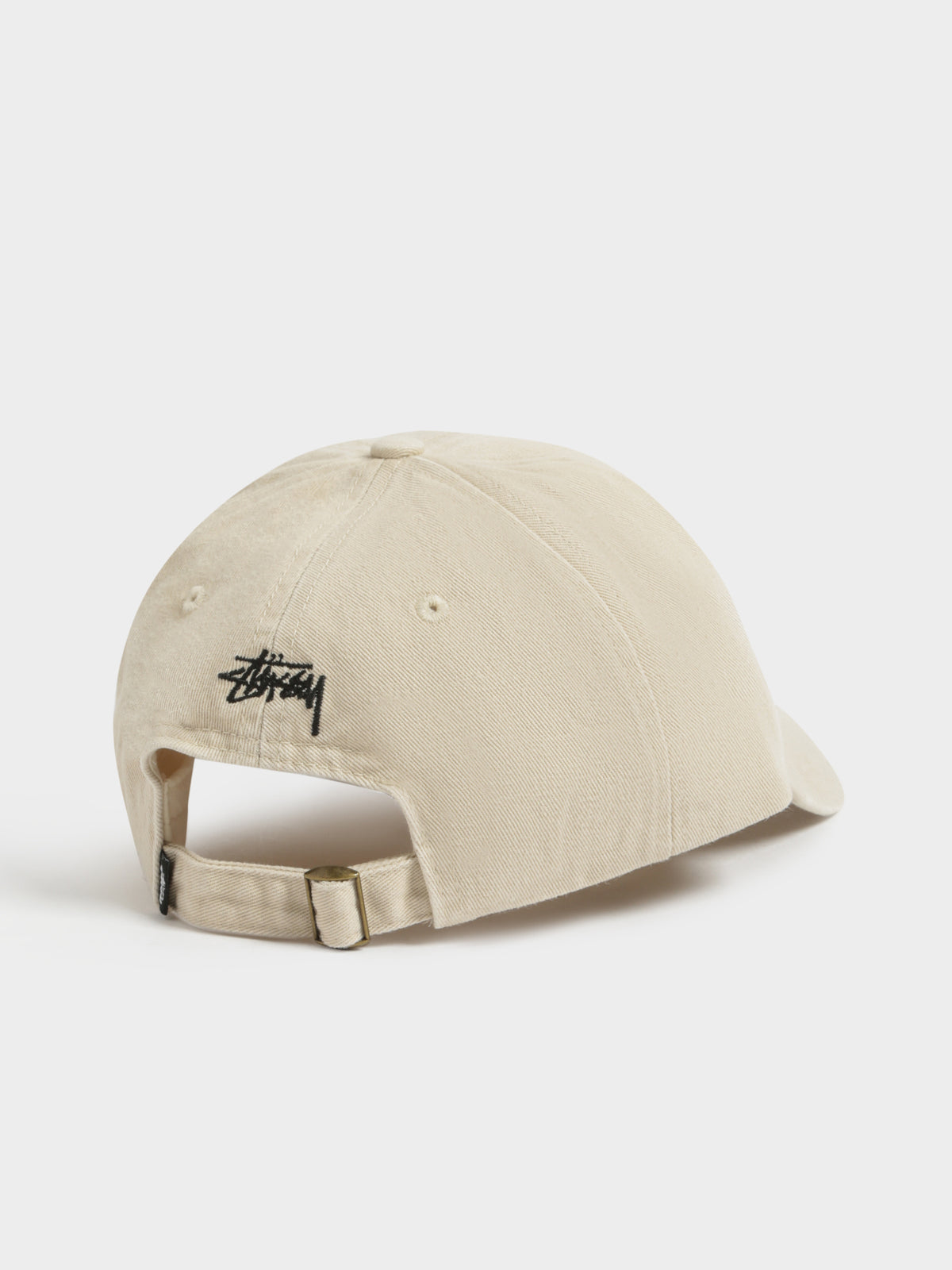 Embroidered Crown Stock Low-Pro Cap in White Sand