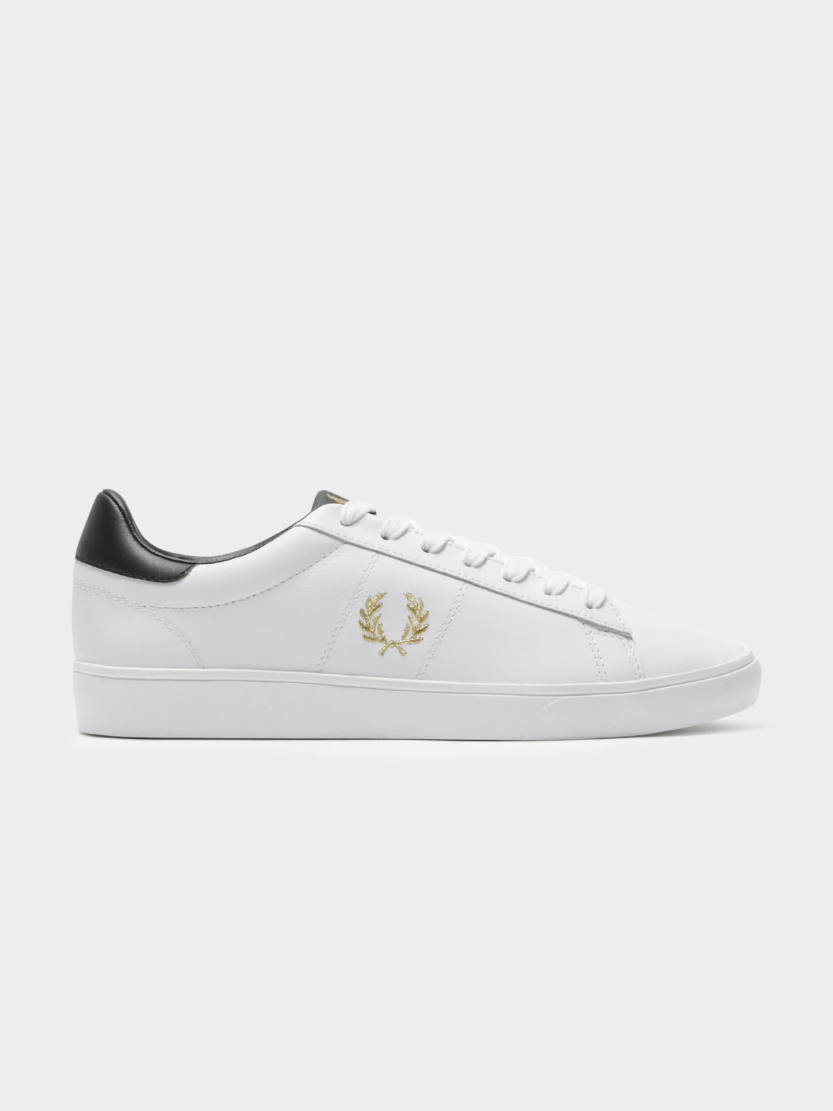 Mens Spencer Leather Sneakers in White & Gold