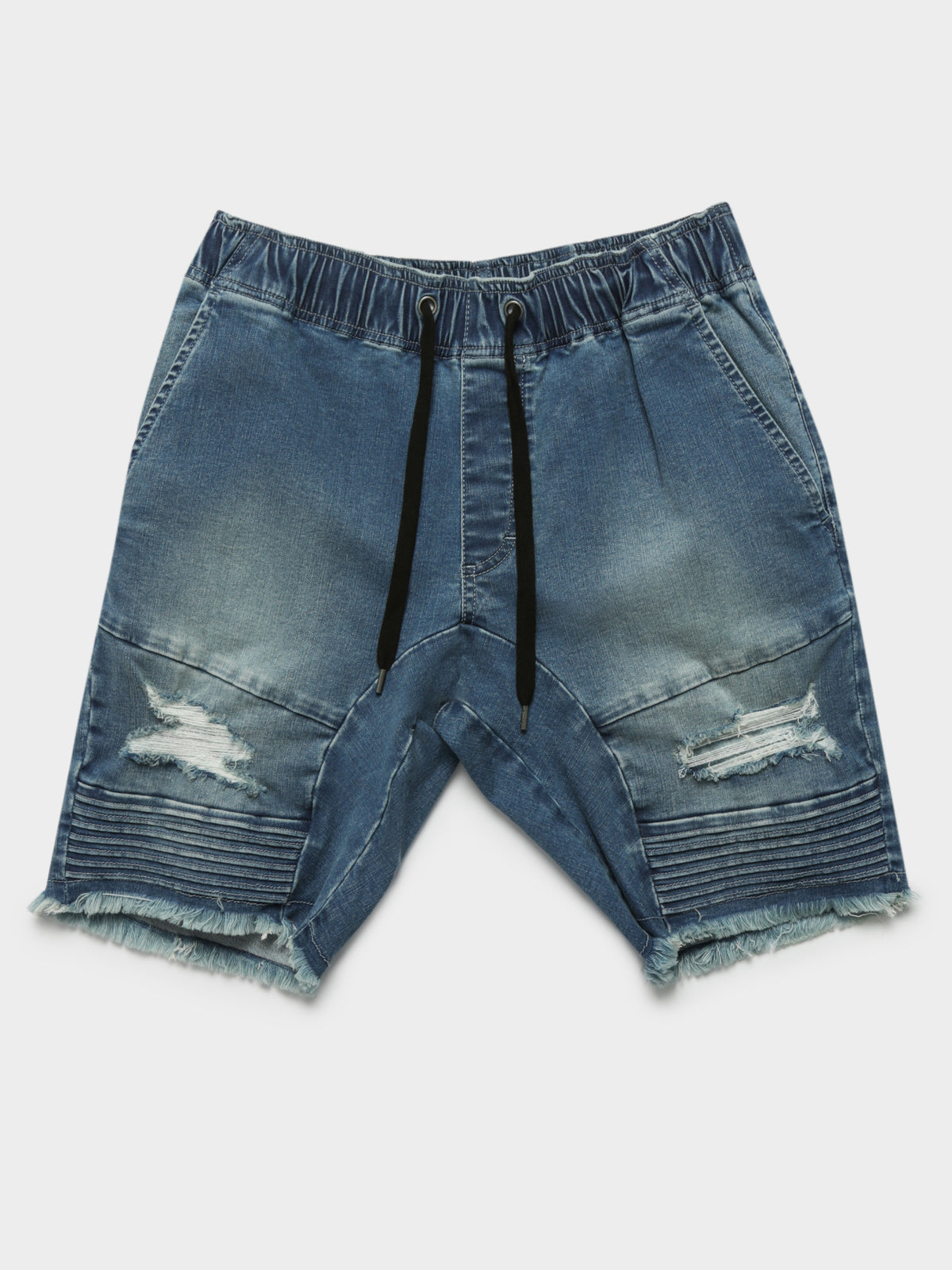 Blake Moto Shorts in Blue Denim