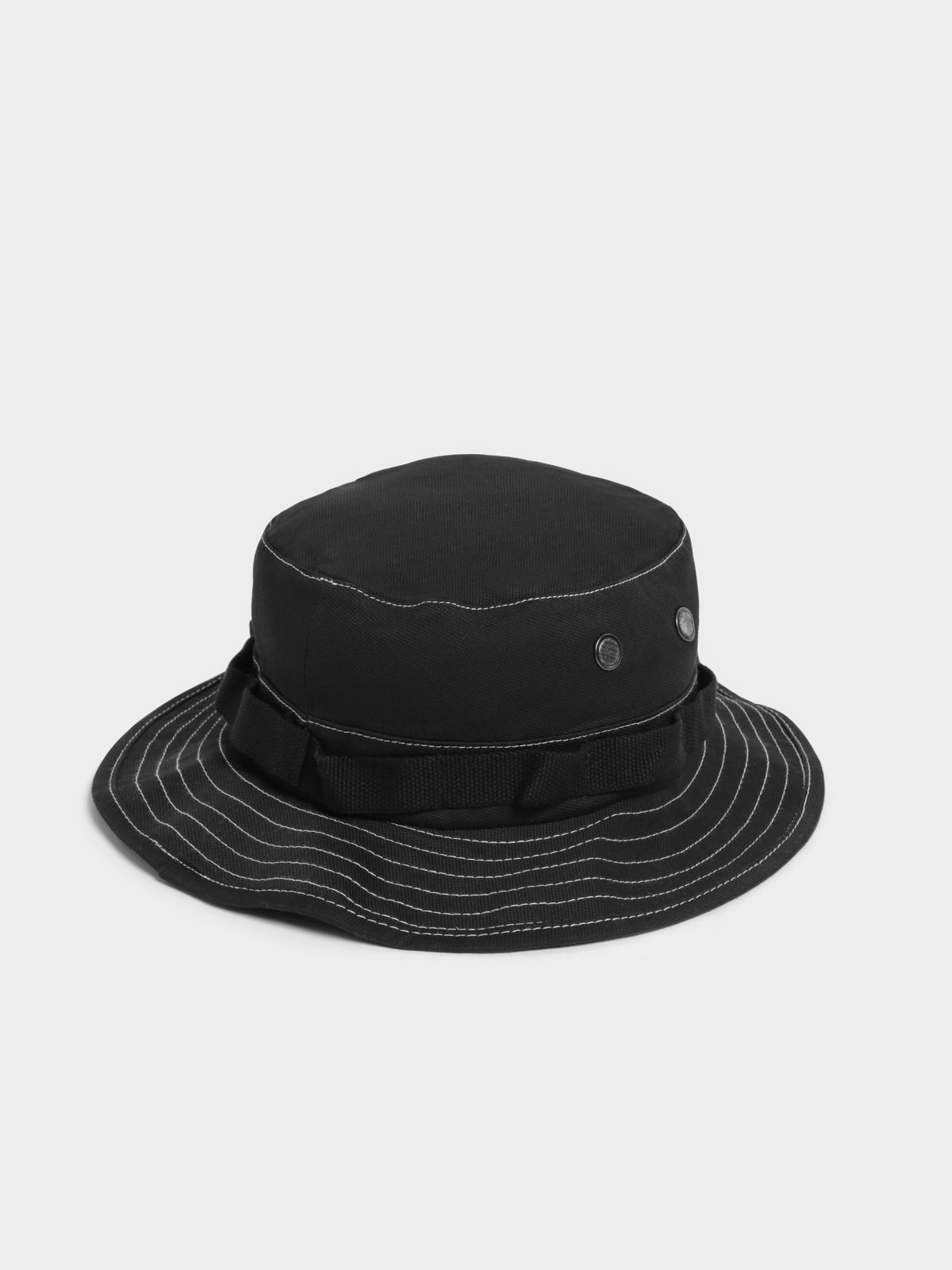 Contrast Stitch Boonie Hat in Black & White